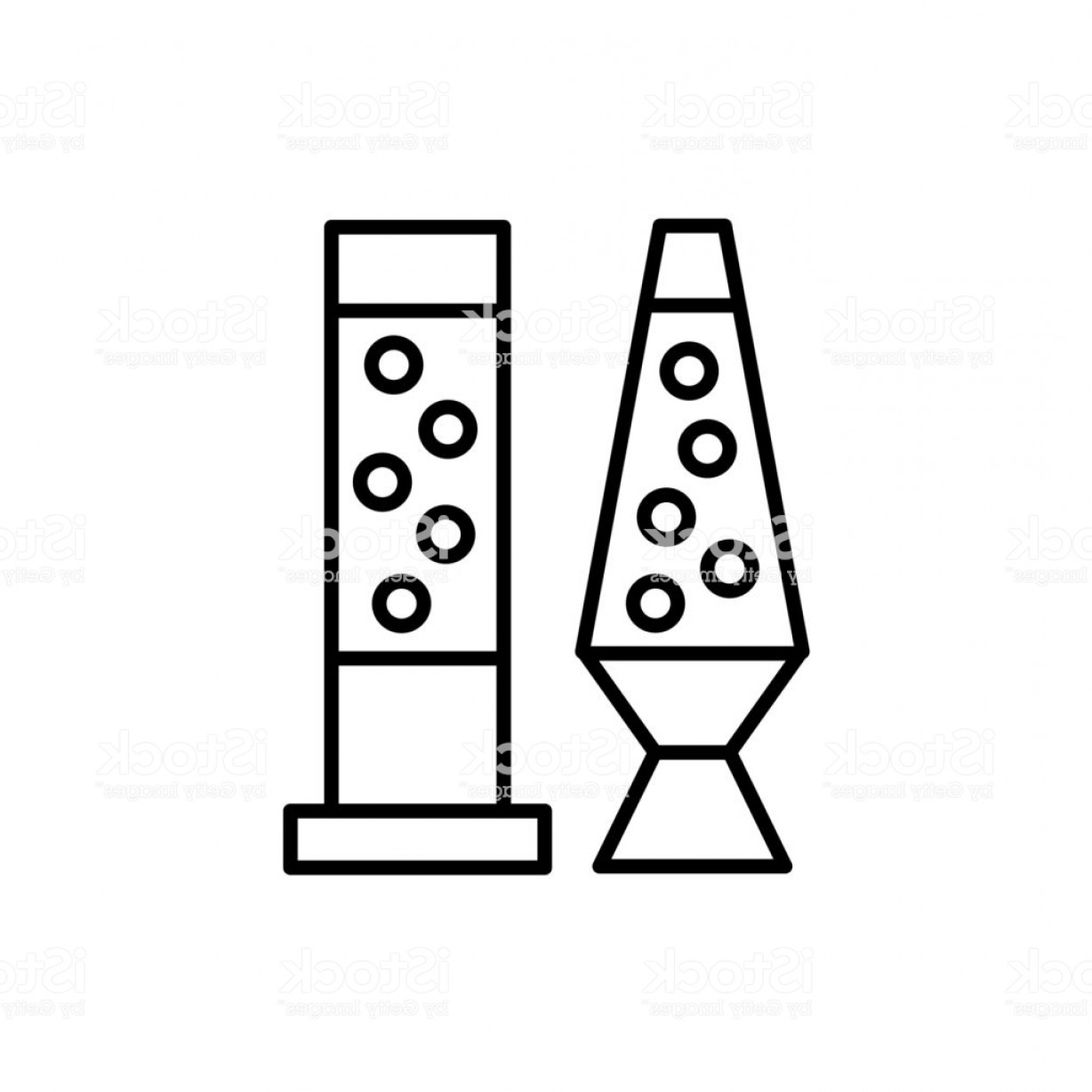Vector Art Black And White Bubbles: Black White Vector Illustration Of Table Lava Lamps With Bubbles Line Icon Of Gm