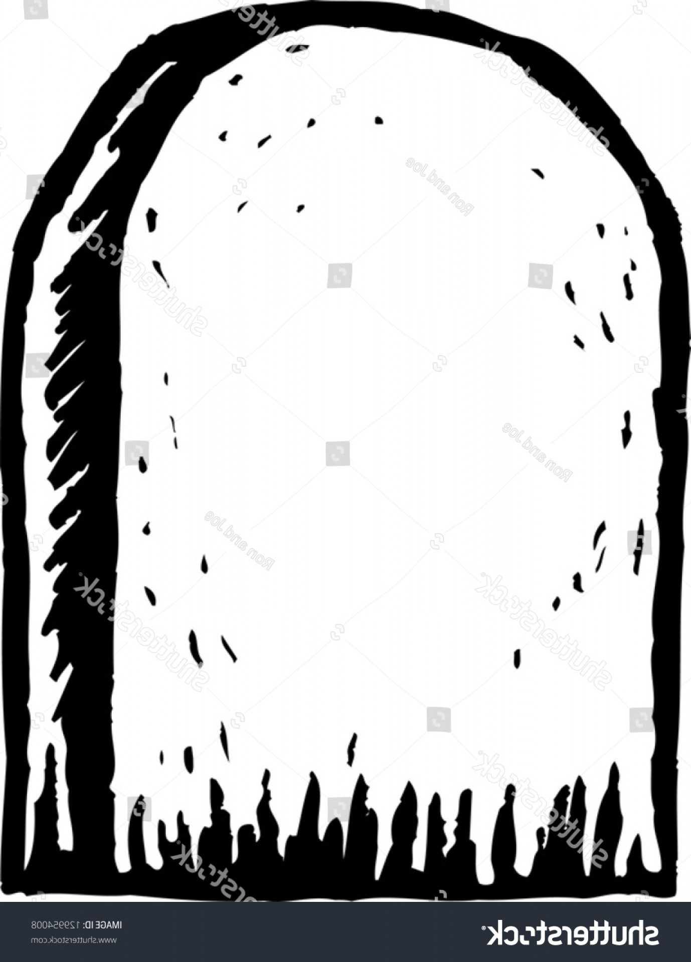 Gravestone Black And Whit Vector JPEG: Black White Vector Illustration Tombstone