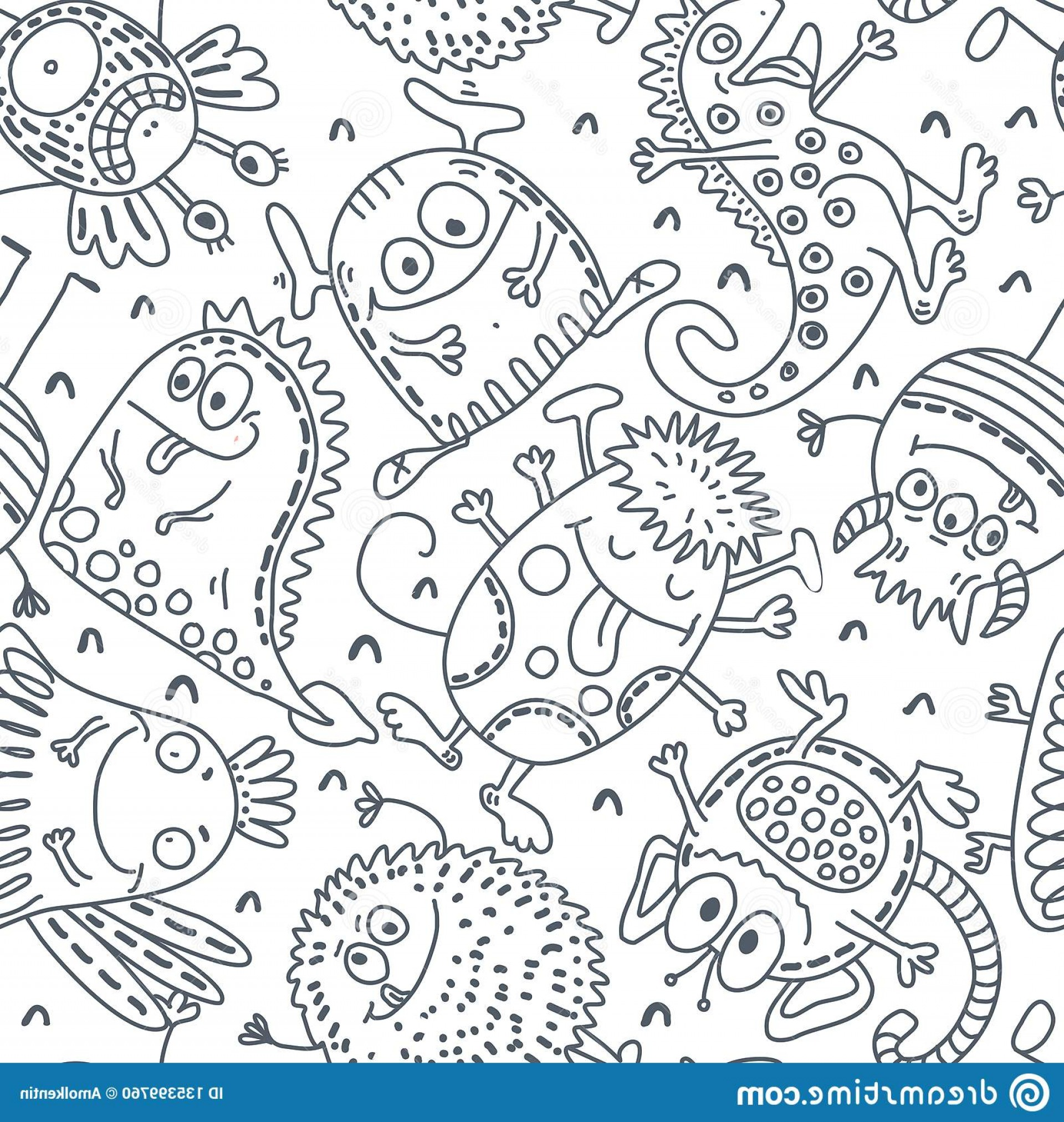 Funny Black And White Vector: Black White Vector Seamless Pattern Funny Monsters Black White Vector Seamless Pattern Funny Monsters Cute Image