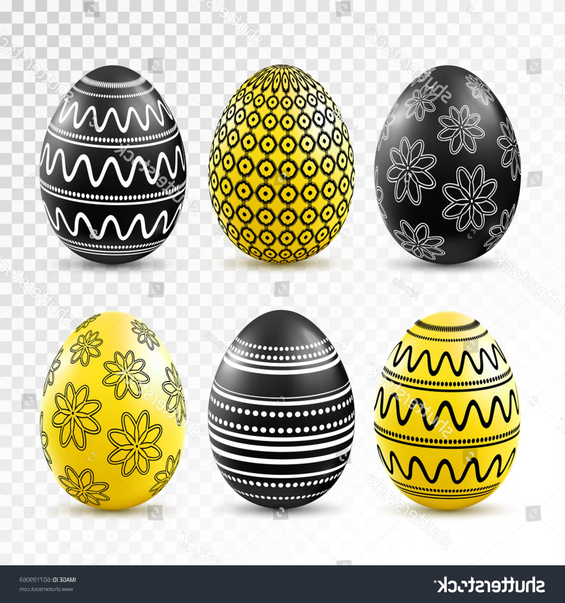 Easter Vector No Background: Black Yellow Easter Eggs Patten Set