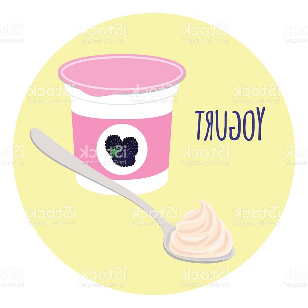 Yogurt Vector: Blackberry Yogurt Healthy Milk Product In Plastic Container Flat Style Gm
