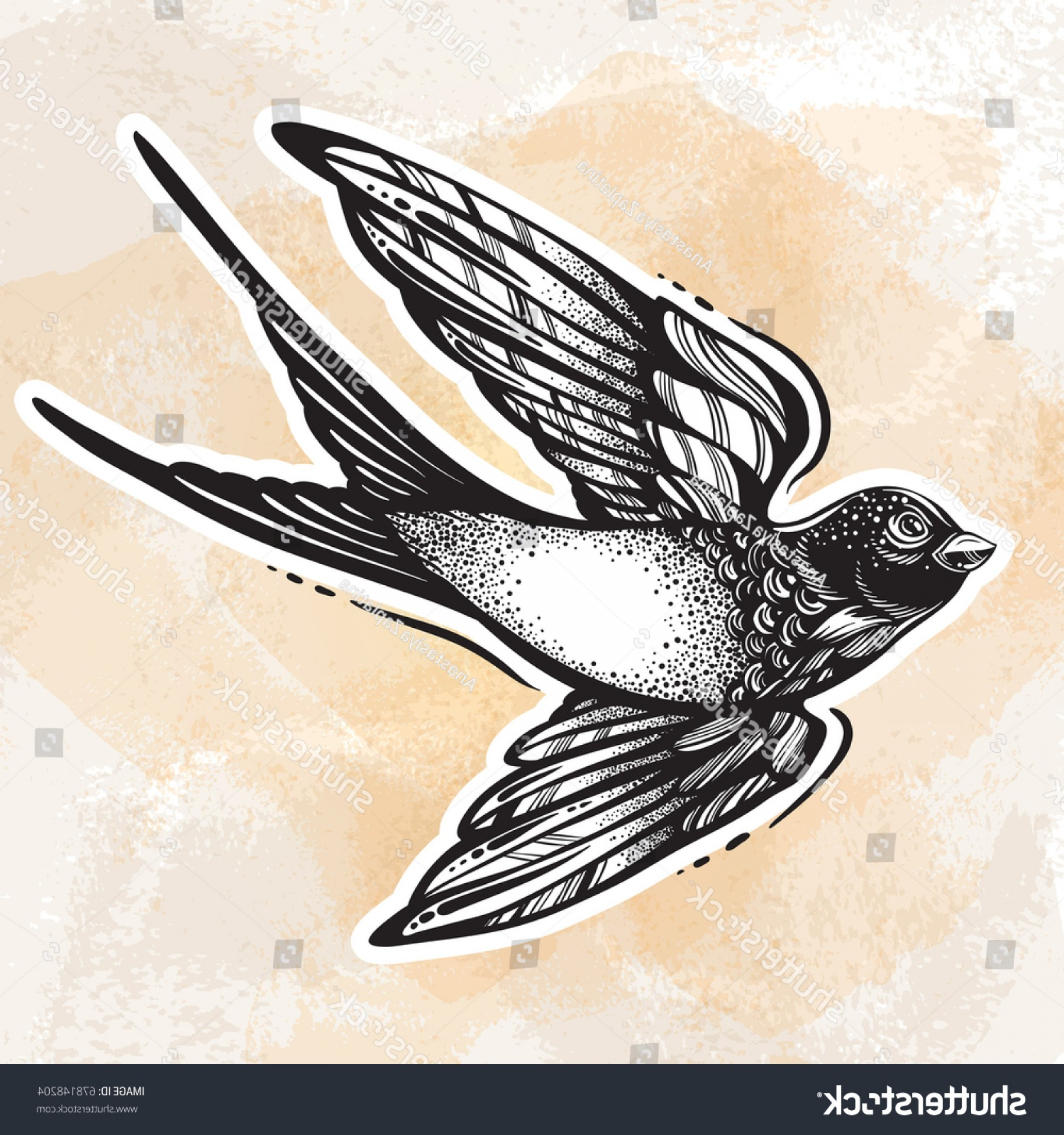 Detailed Tattoo Vector Images: Blackwork Tattoo Flash Beautifully Detailed Flying