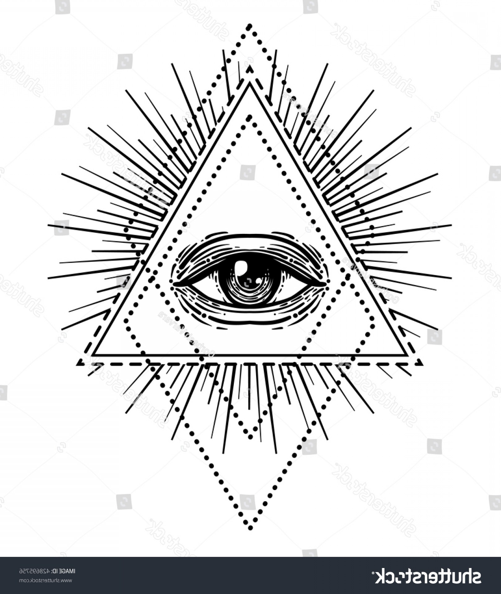 Pyramid With Eye Of Providence Vector: Blackwork Tattoo Flash Eye Providence Masonic