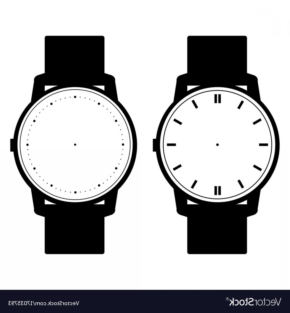 Watch Face Vector: Blank Hand Watch Face On White Background Vector