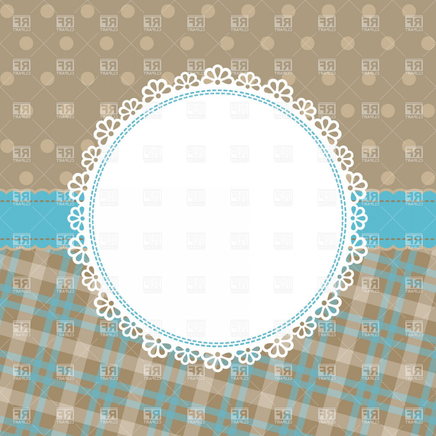 Vector Ornate Vintage Frame Blank: Blank Lace Round Frame Vector Clipart