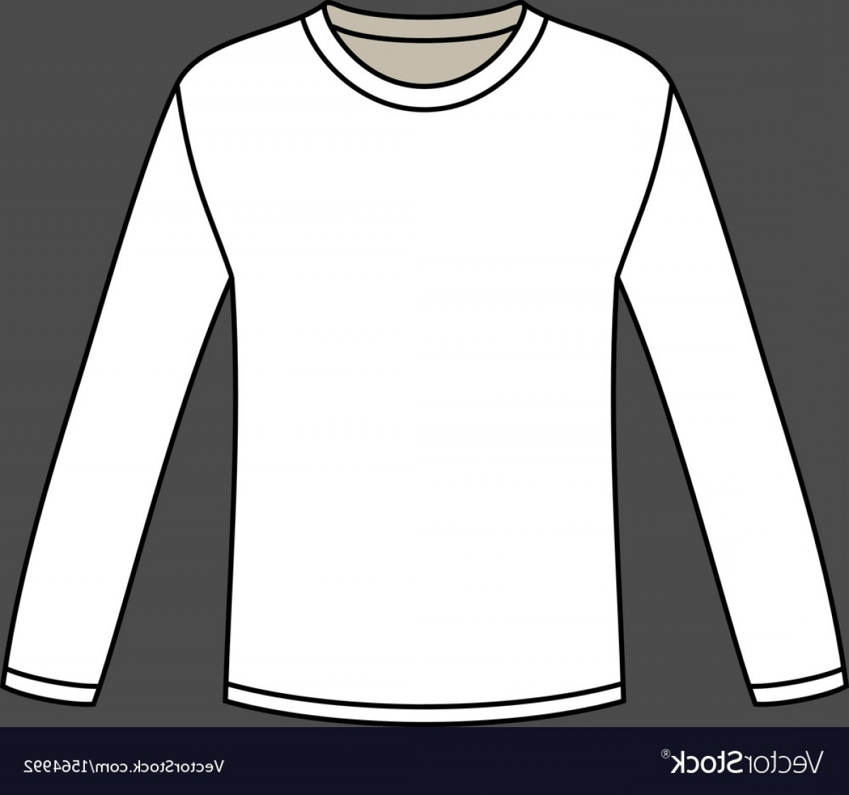 Long Sleeve Jersey Vector Template: Blank Long Sleeved T Shirt Template Vector