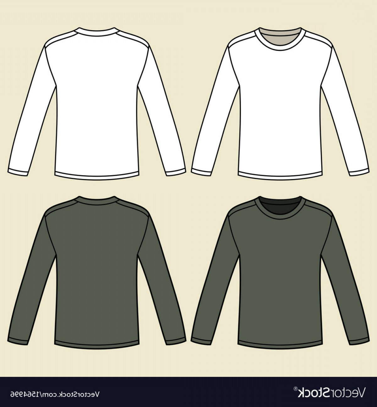 Long Sleeve Jersey Vector Template: Blank Long Sleeved T Shirts Template Vector