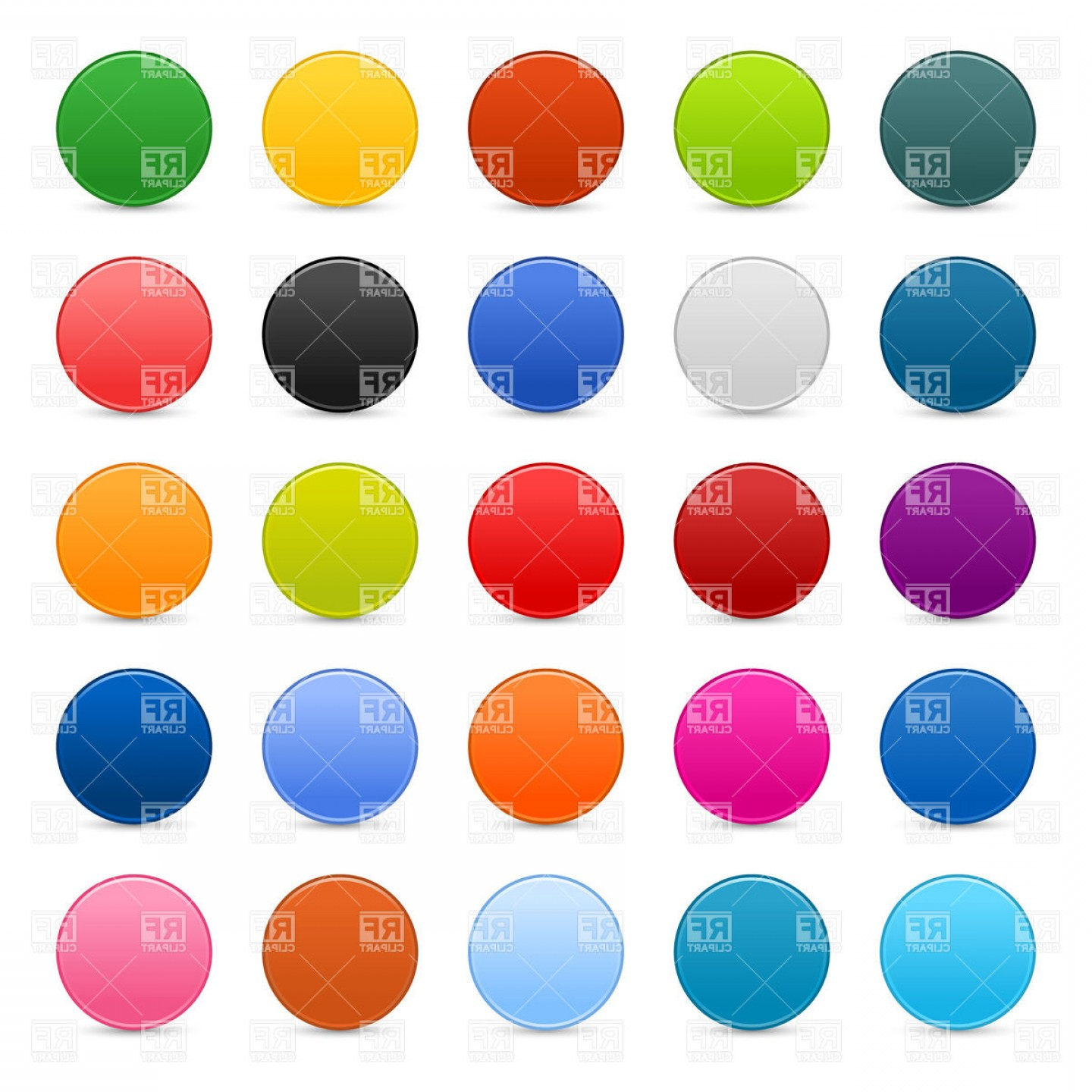 Buttons Vector Art: Blank Round Multicolored Buttons Vector Clipart