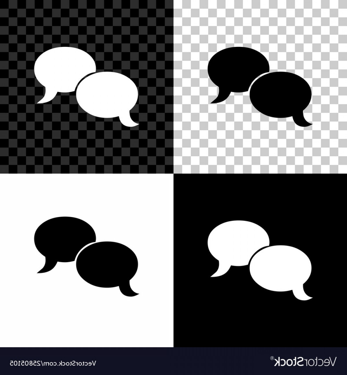 Vector Art Black And White Bubbles: Blank Speech Bubbles Icon Isolated On Black White Vector