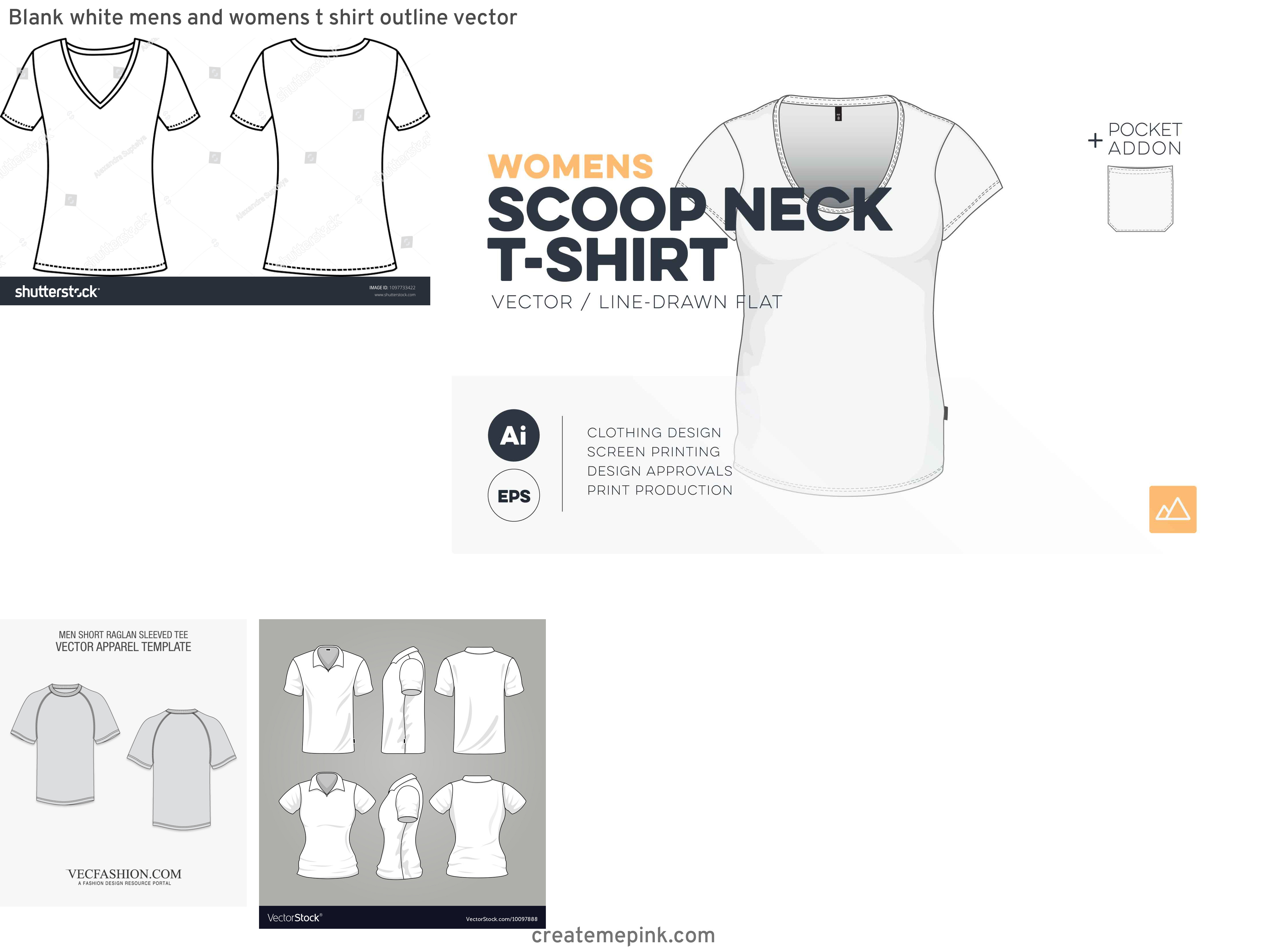 Women's T-Shirt Template Vector: Blank White Mens And Womens T Shirt Outline Vector