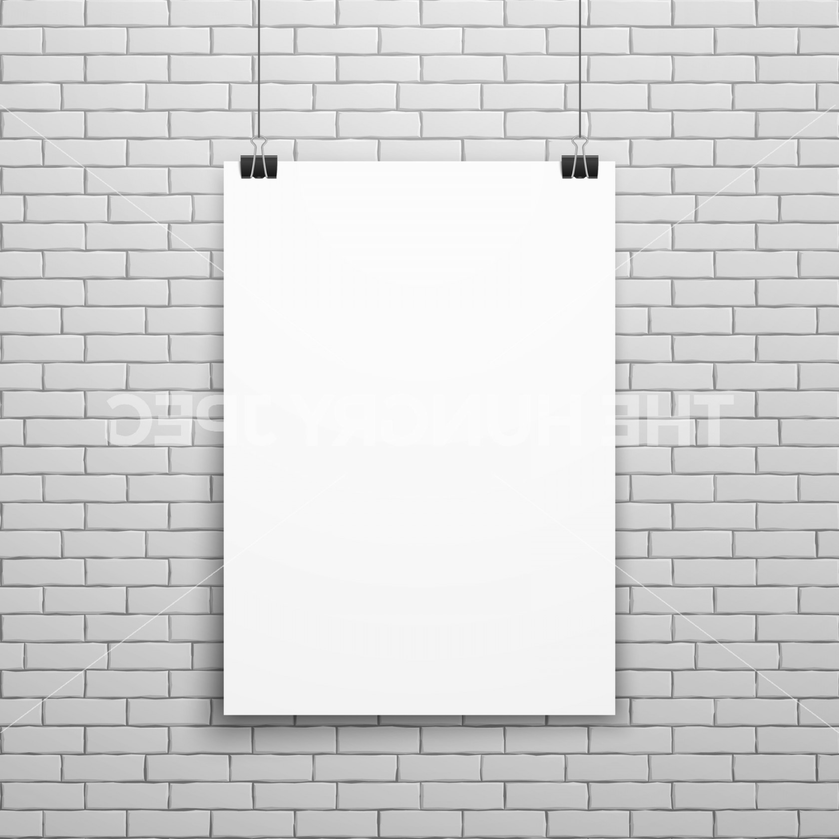 Brick Vector Ai File: Blank White Poster On Brick Wall Vector Illustration