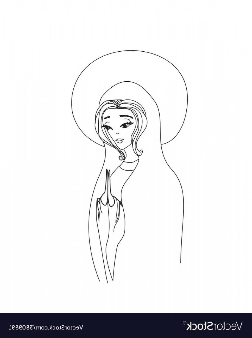 Mary Halo Vector: Blessed Virgin Mary In Black And White Contour Vector