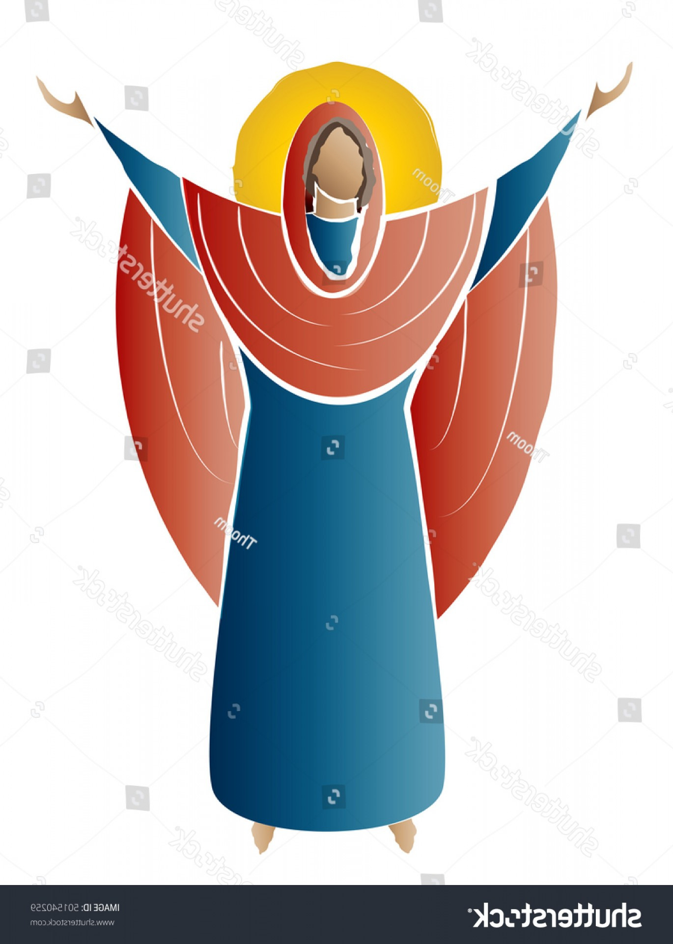 Mary Halo Vector: Blessed Virgin Mary Madonna Orante Icon