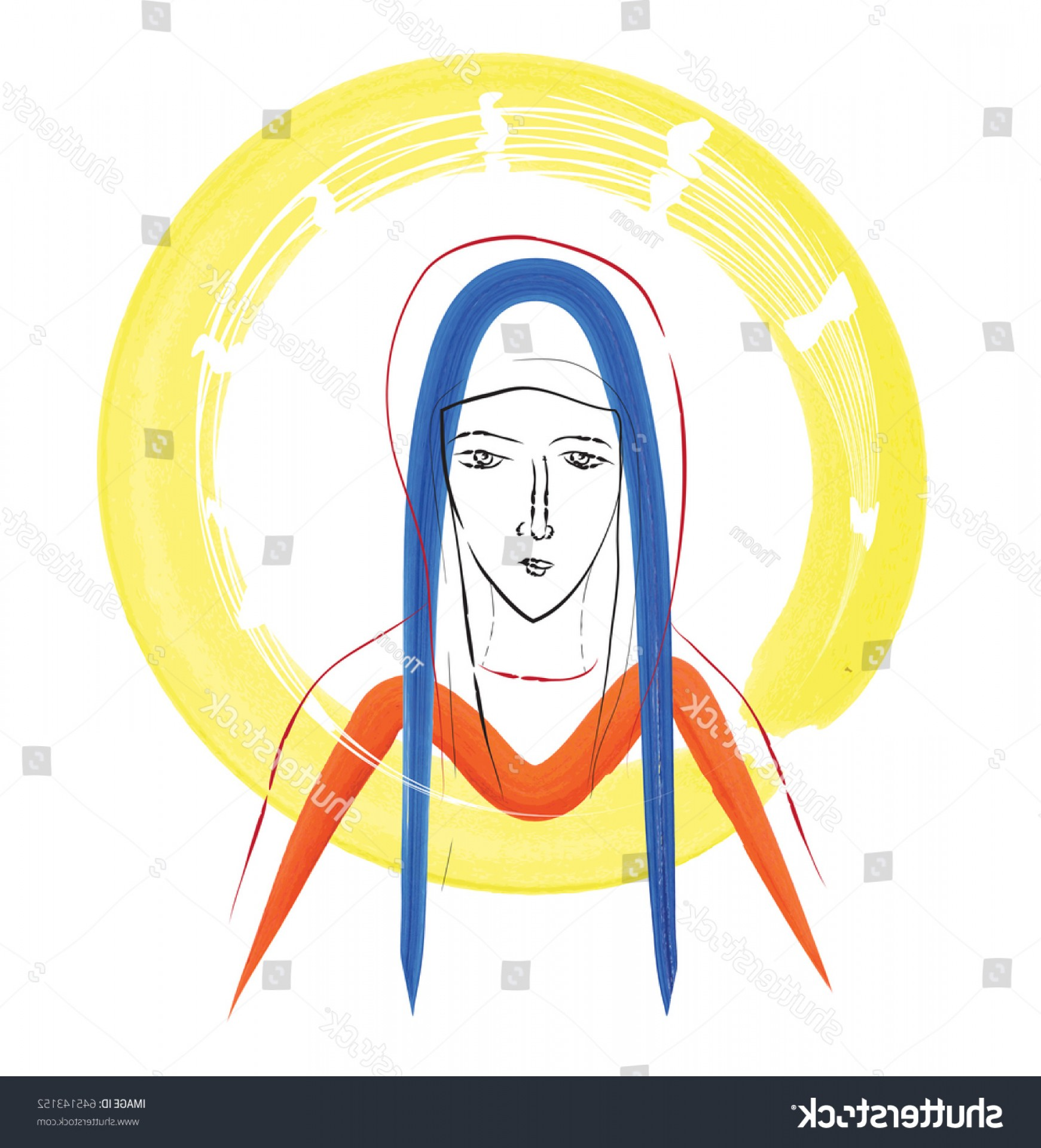 Mary Halo Vector: Blessed Virgin Mary Sketch Ma Monogram