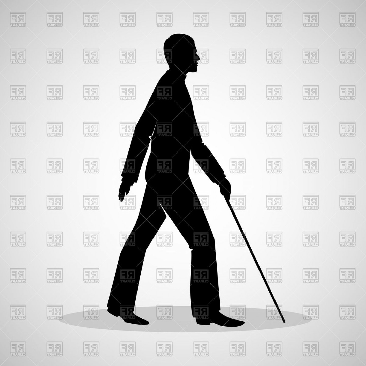 Male Silhouette Vector Art: Blind Man Silhouette With Walking Stick Vector Clipart