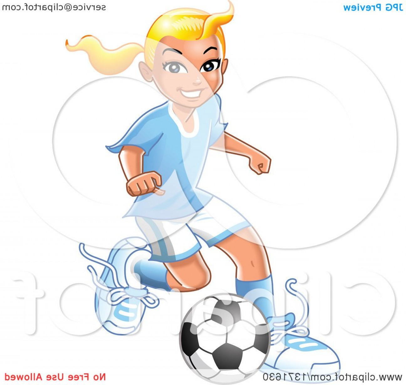 Bond Girls Vector: Blond Caucasian Girl Playing Soccer