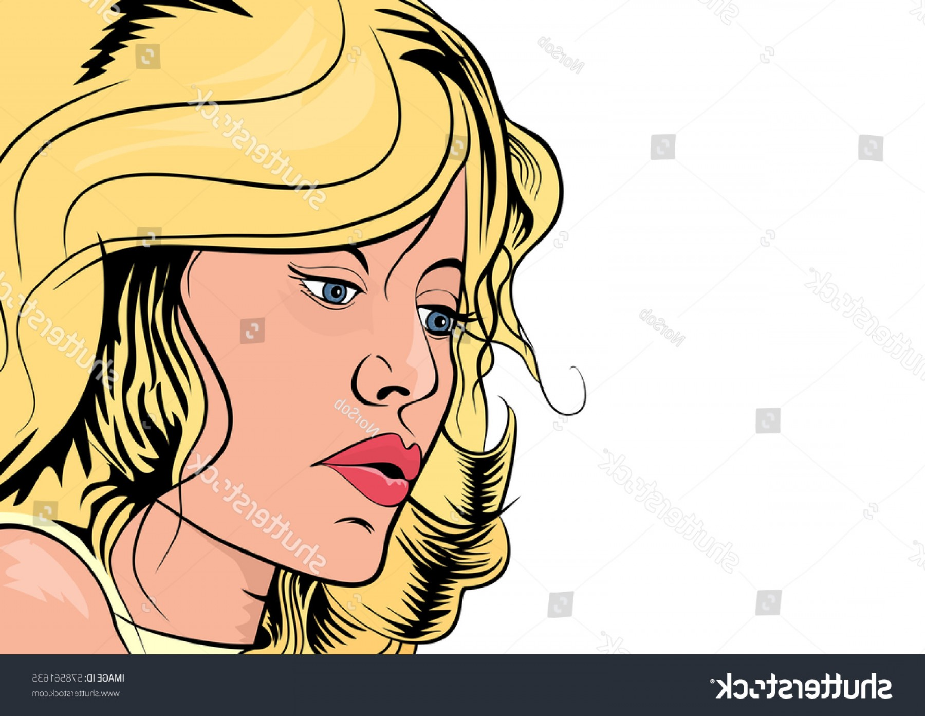 Lady Face Layers Vector: Blond Girl Retro Style Comic Book