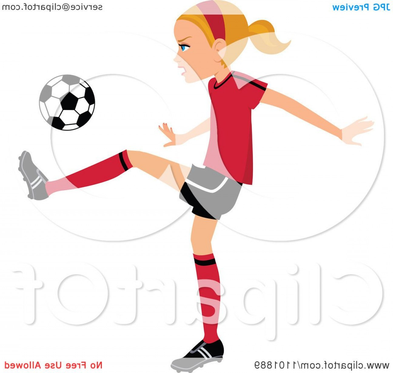 Vector Football Girl: Blond Soccer Girl Player Kicking A Ball
