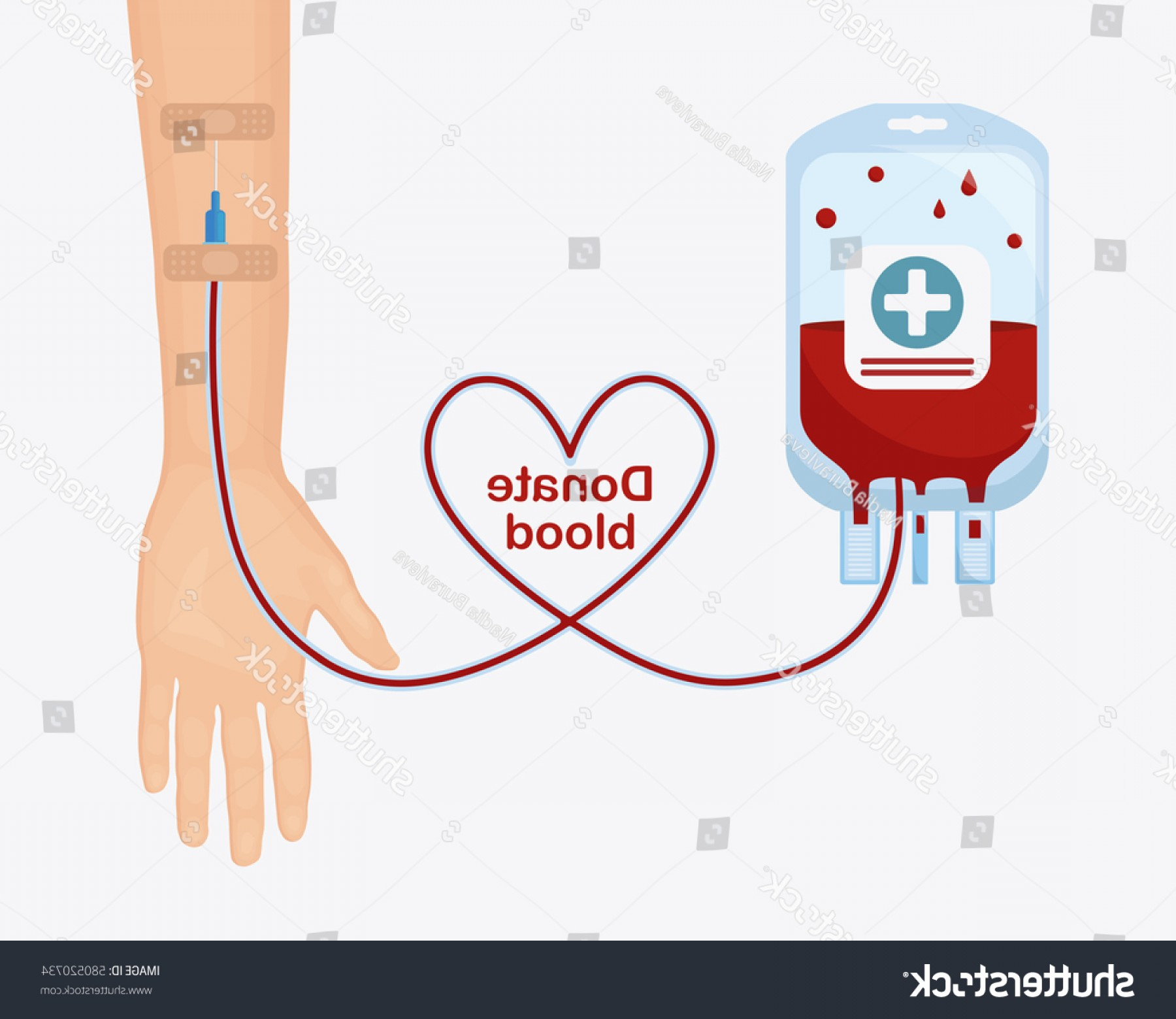 Charity Meter Vector: Blood Bag Pack Donor Hands Heart