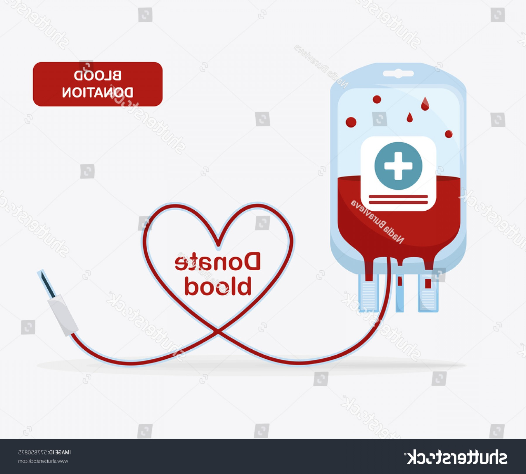 Charity Meter Vector: Blood Bag Pack Heart Isolated On