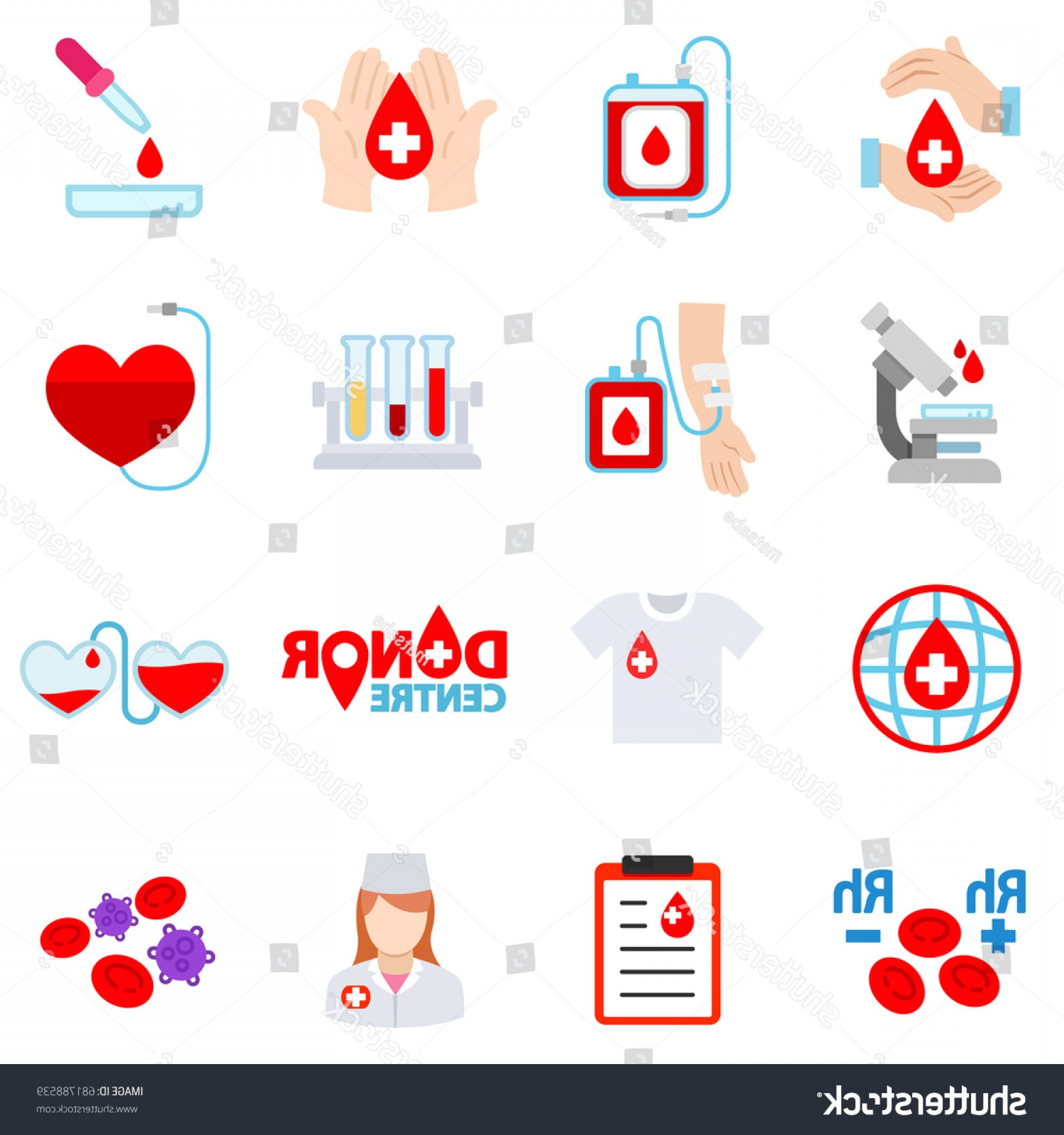 Charity Meter Vector: Blood Donation Icon Set Voluntary Procedure