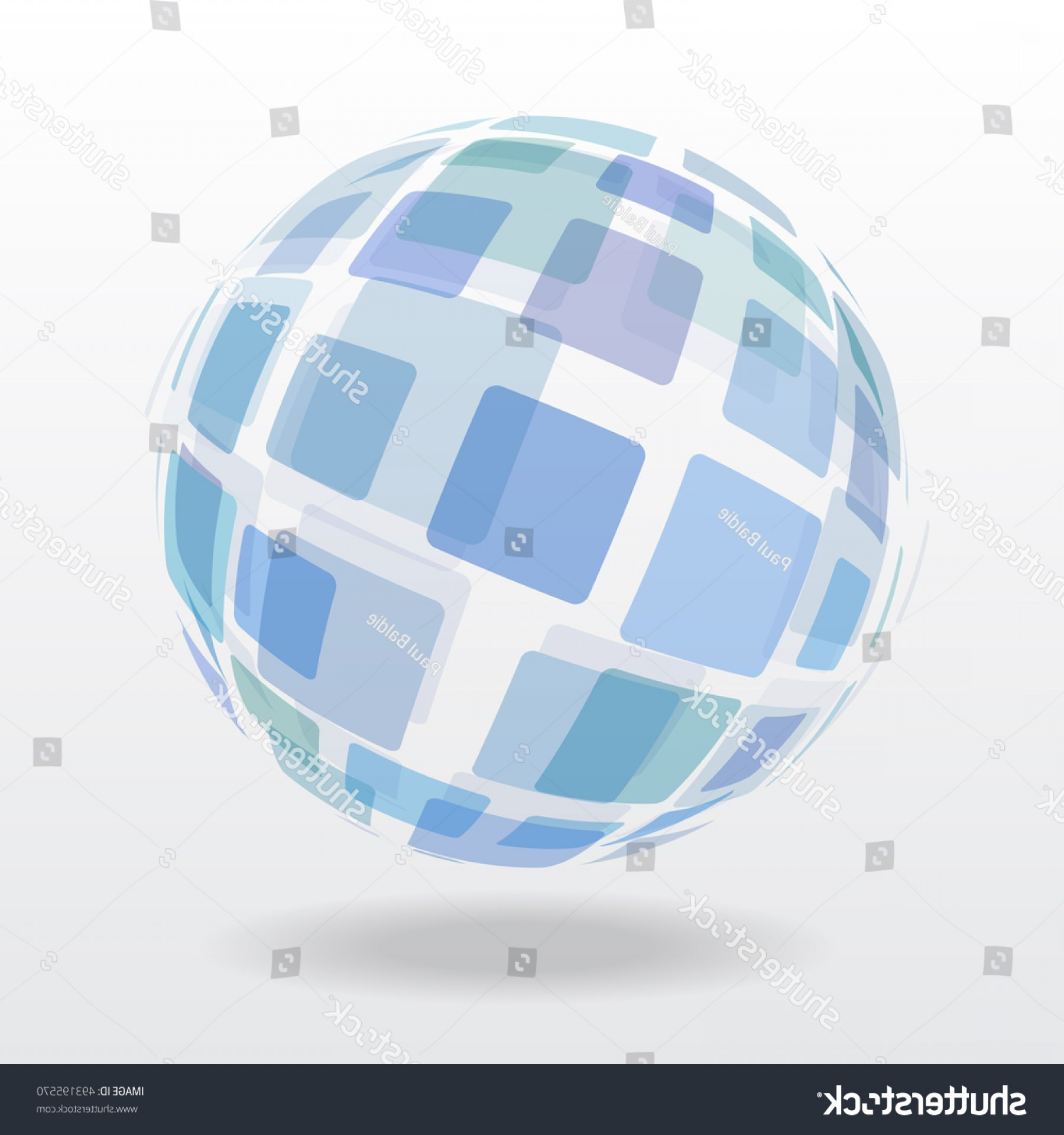 Abstract Vector Art Globe TV: Blue Abstract Globe Sphere Squares Shadow