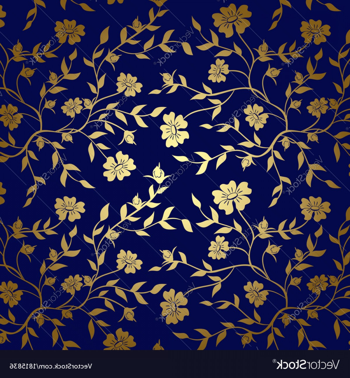 Gold And Blue Flower Vector: Blue And Gold Floral Texture For Background Vector