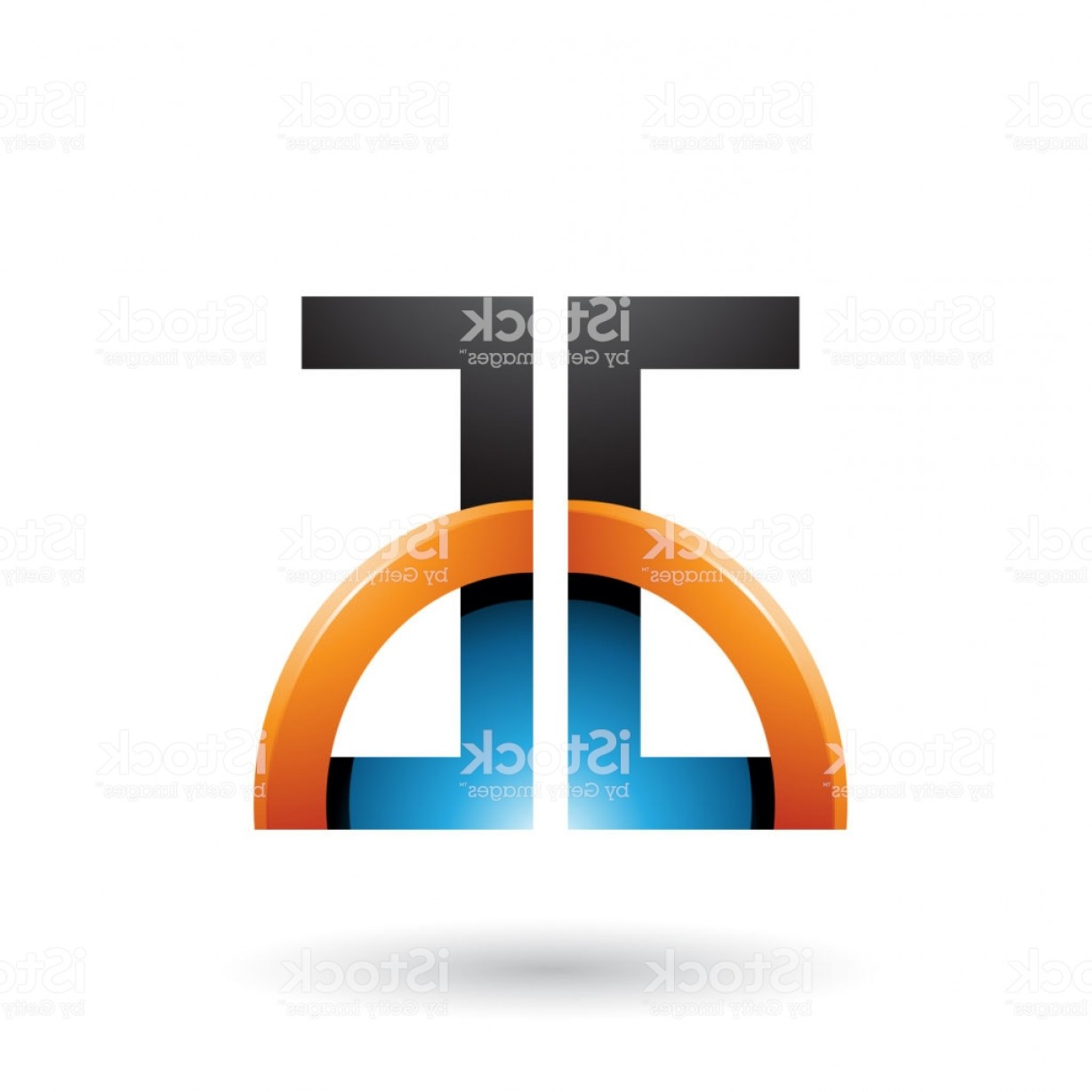 Blue And Orange Circle Vector: Blue And Orange Letters A And G With A Glossy Half Circle Vector Illustration Gm