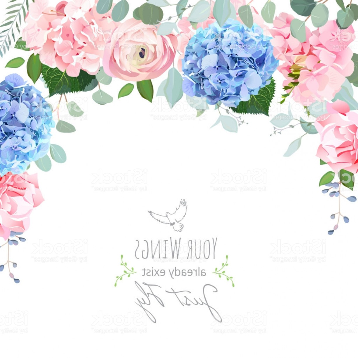 Vector Image Blue Hydrangeas: Blue And Pink Hydrangea Rose Ranunculus Carnation Flowers Gm