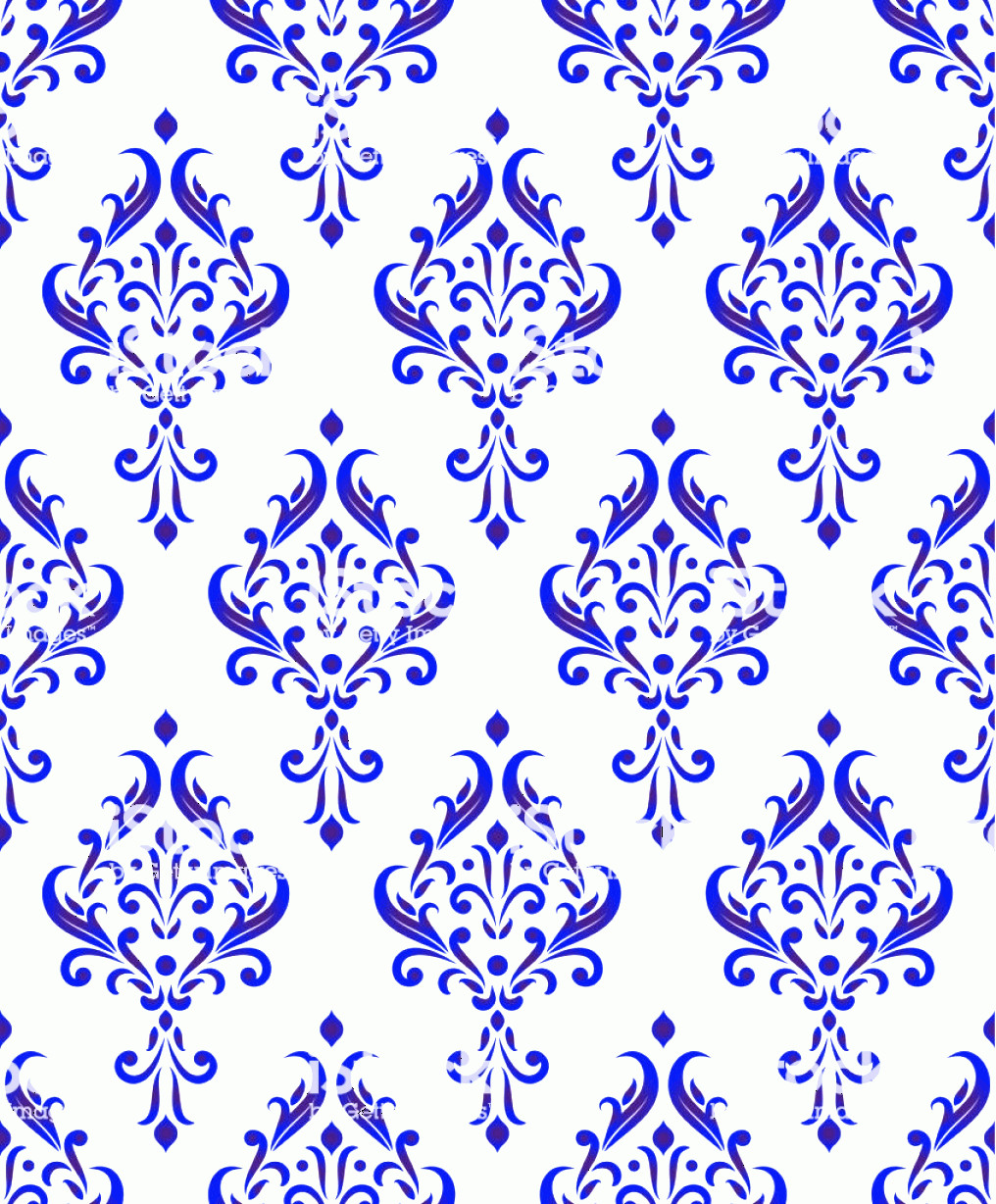Blue And White Damask Vectors: Blue And White Damask Pattern Seamless Gm