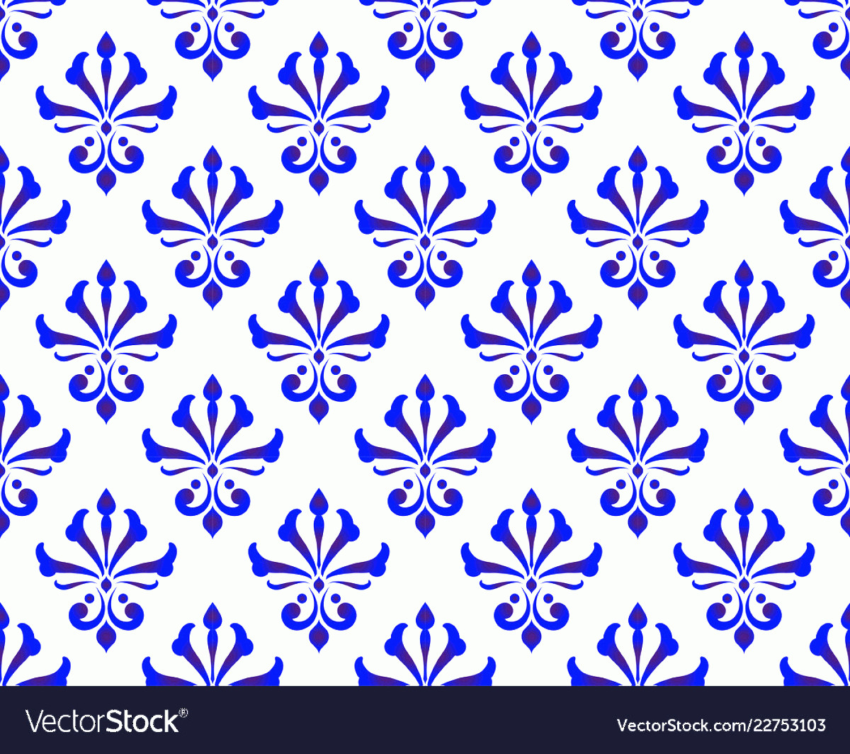 Blue And White Damask Vectors: Blue And White Damask Pattern Vector