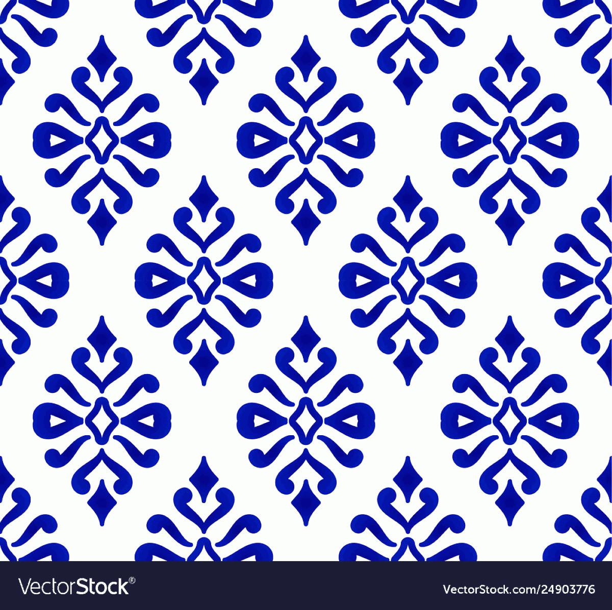Blue And White Damask Vectors: Blue And White Damask Seamless Pattern Vector