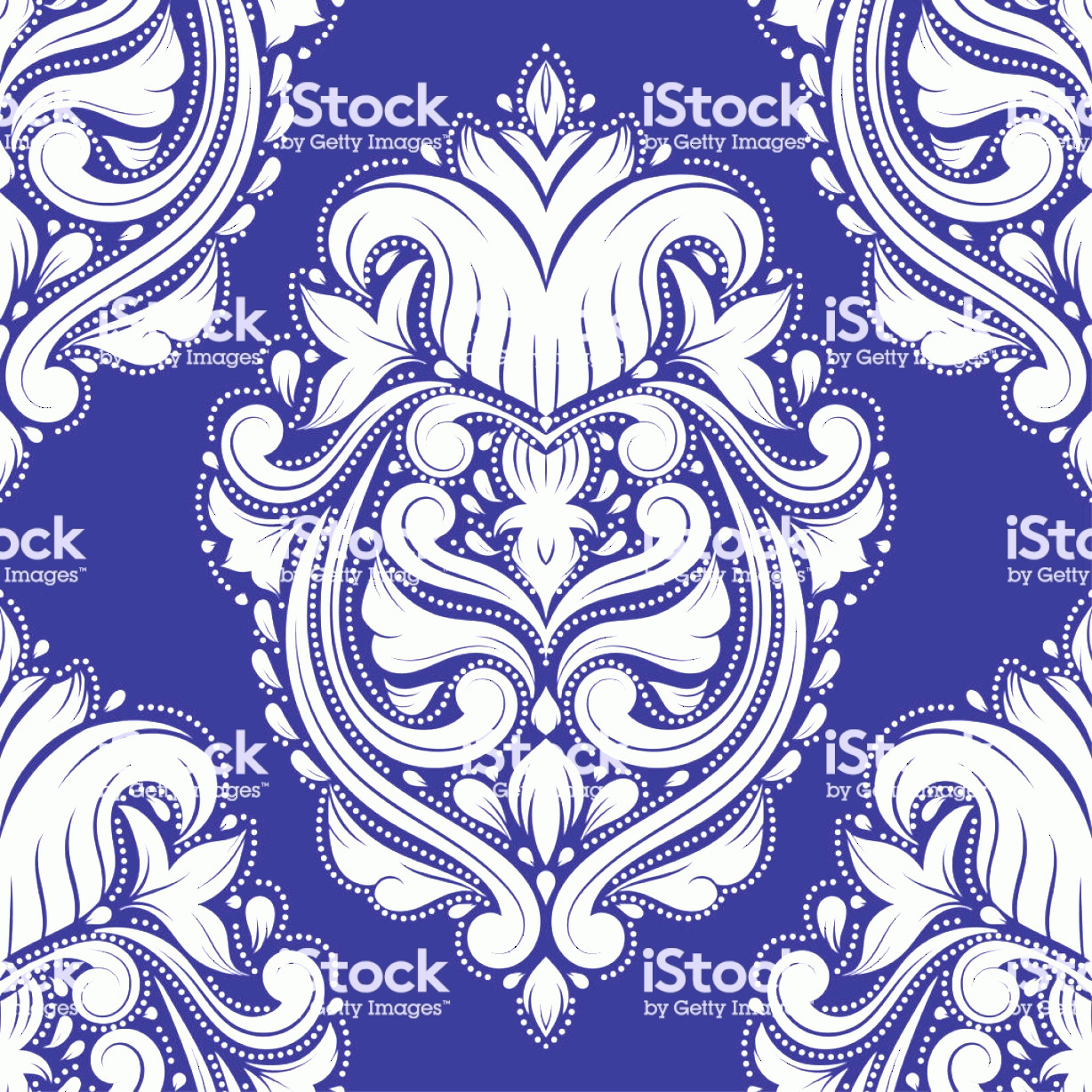 Blue And White Damask Vectors: Blue And White Damask Vector Seamless Pattern Wallpaper Elegant Classic Texture Gm