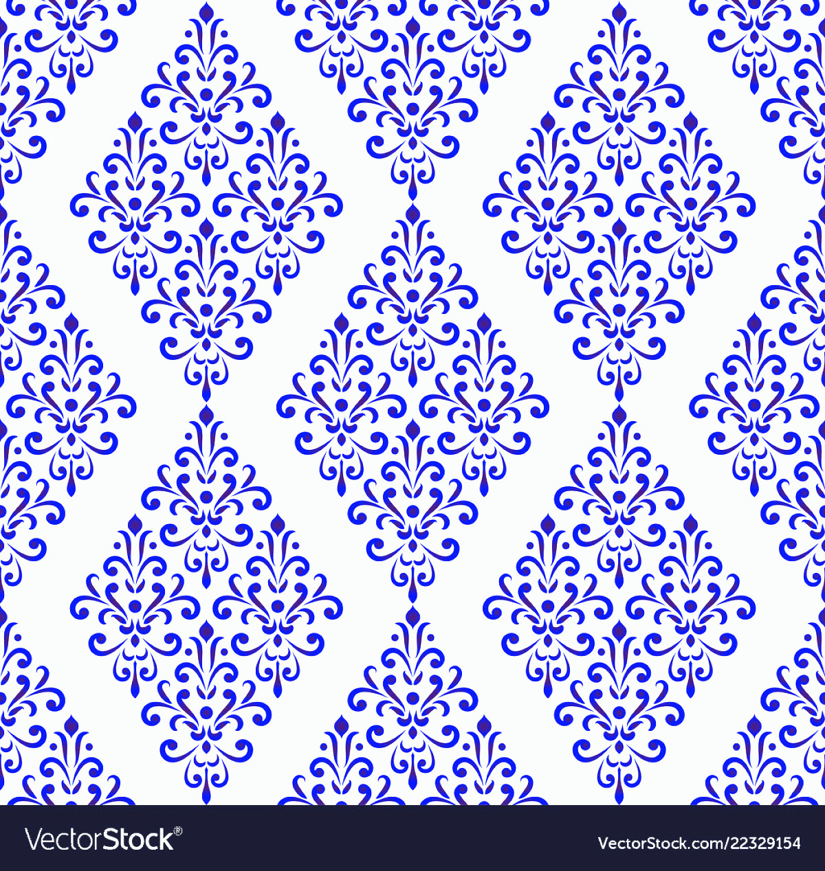 Blue And White Damask Vectors: Blue And White Pattern Damask Style Vector