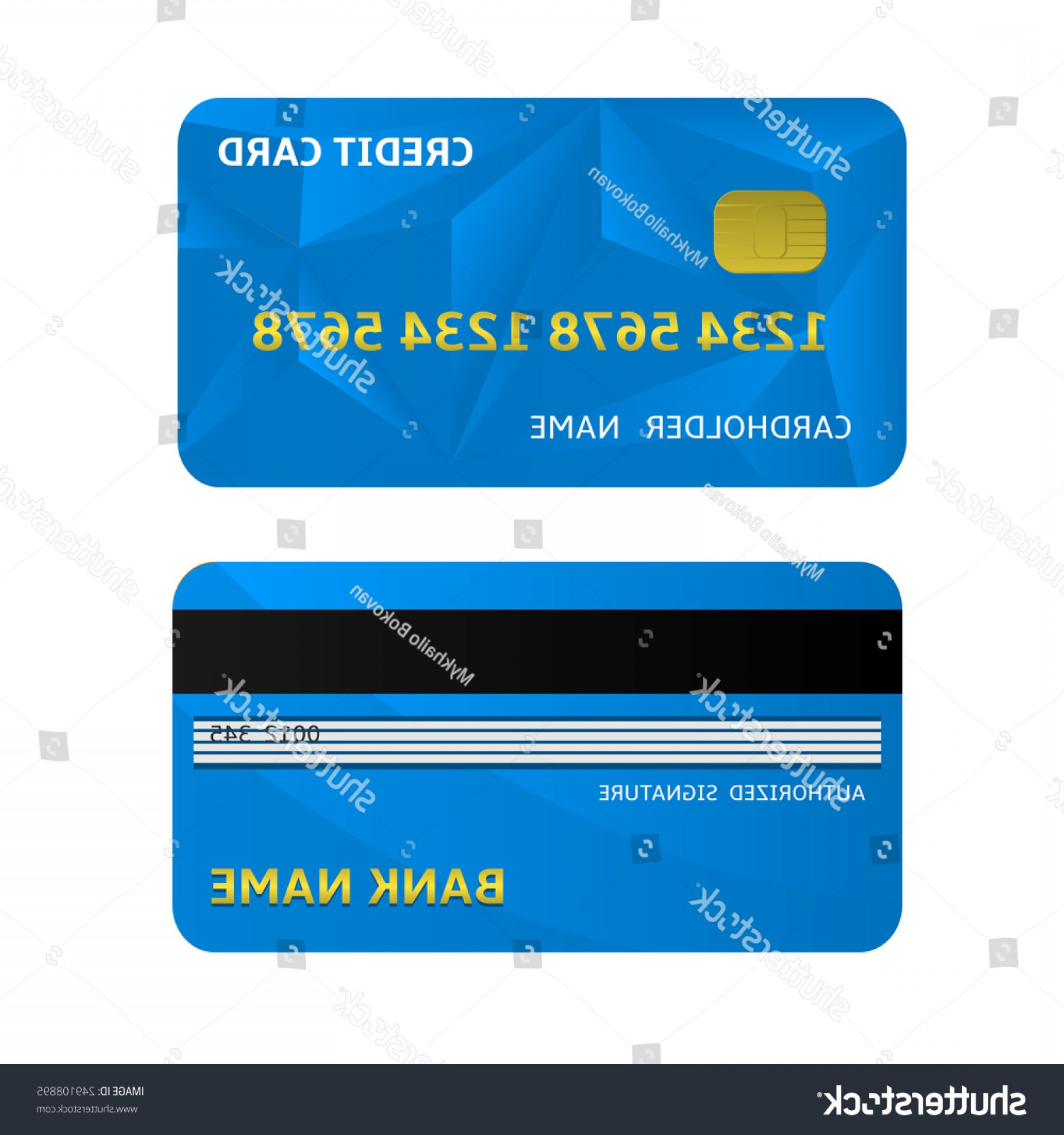 Credit Card Logos Vector: Blue Bank Credit Card Icons Vector