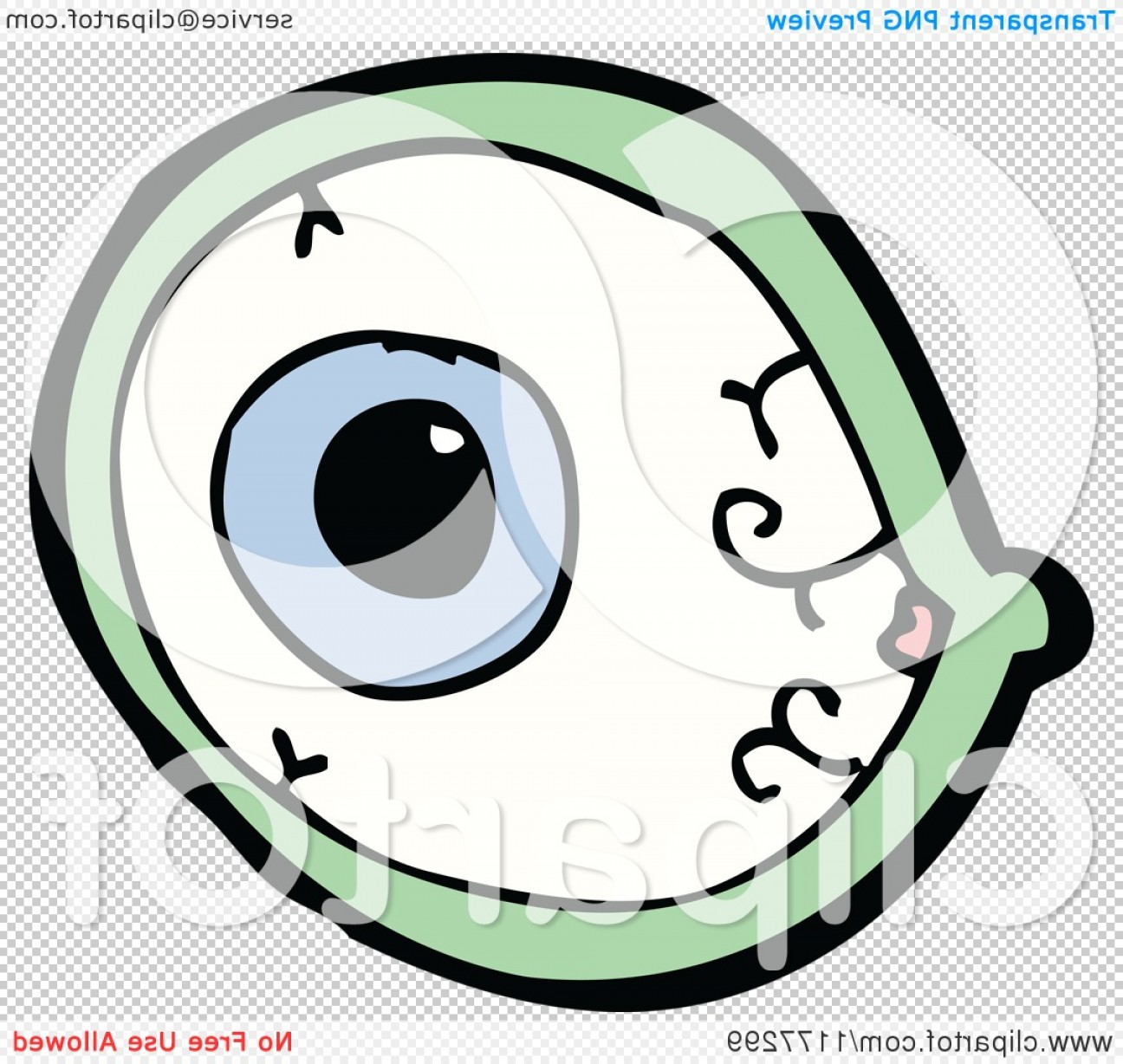 Green Cartoon Eyes Vector Png: Blue Bloodshot Eye With A Green Rim