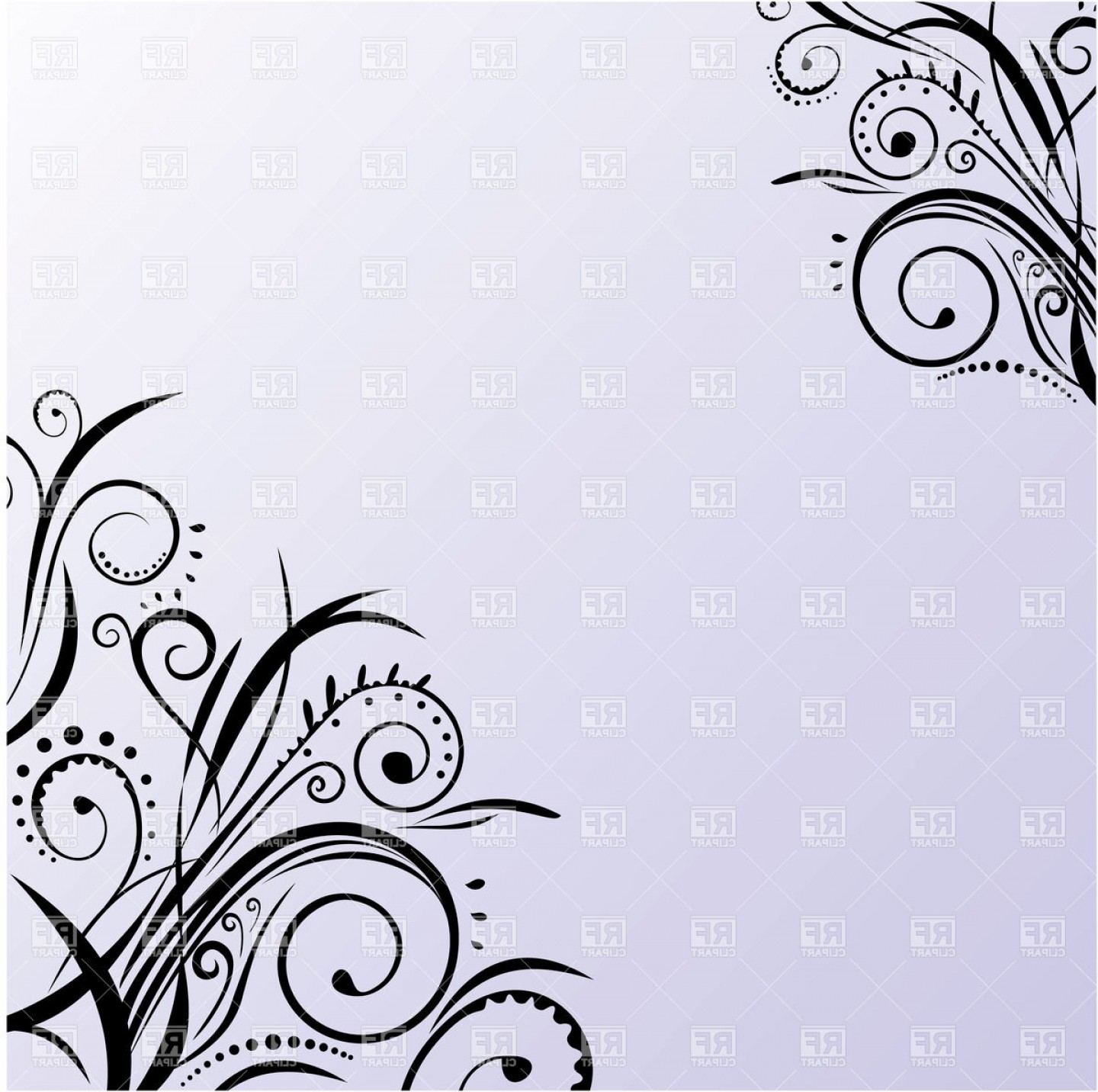 Simple Paisley Vector Border: Blue Card With Simple Curly Ornament In Corners Vector Clipart