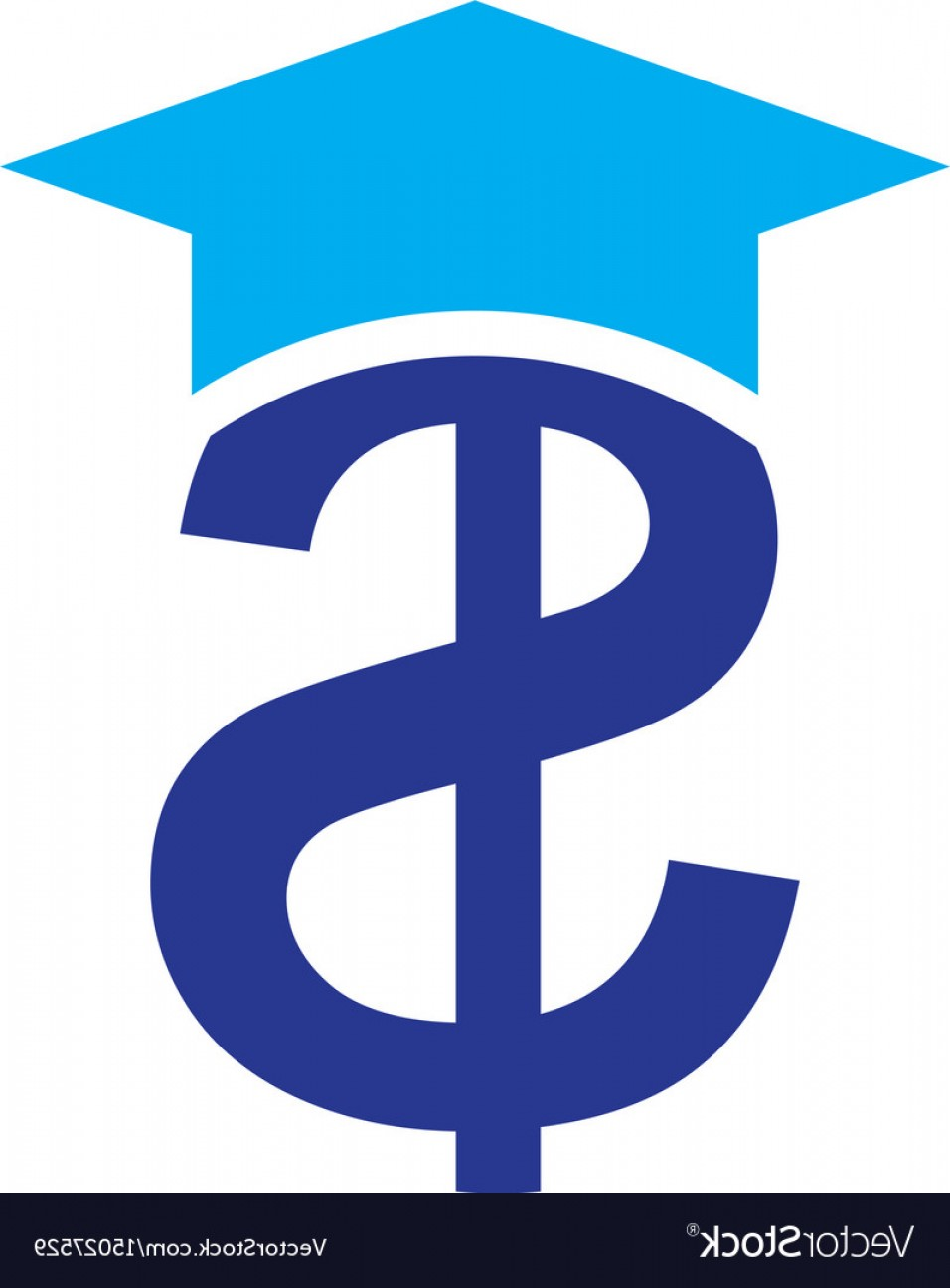 Blue Dollar Sign Vector: Blue Dollar Sign With Graduation Hat Vector