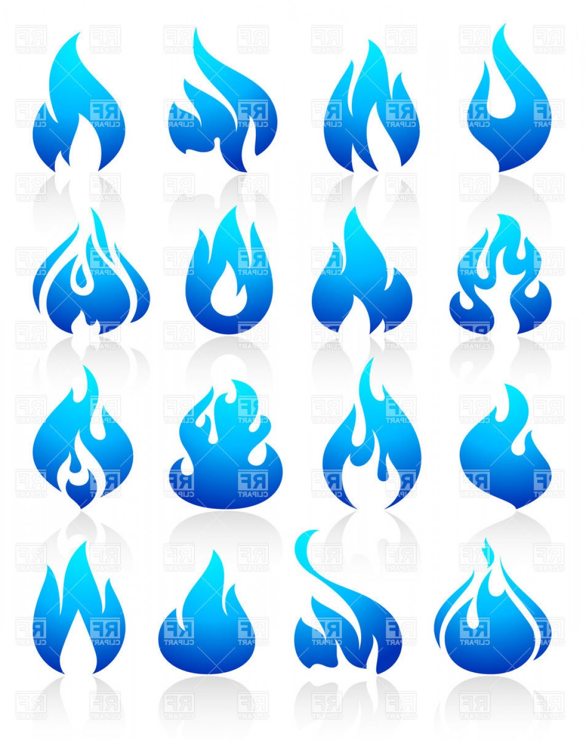 Fire Clip Art Vector: Blue Fire And Flames Icons Vector Clipart