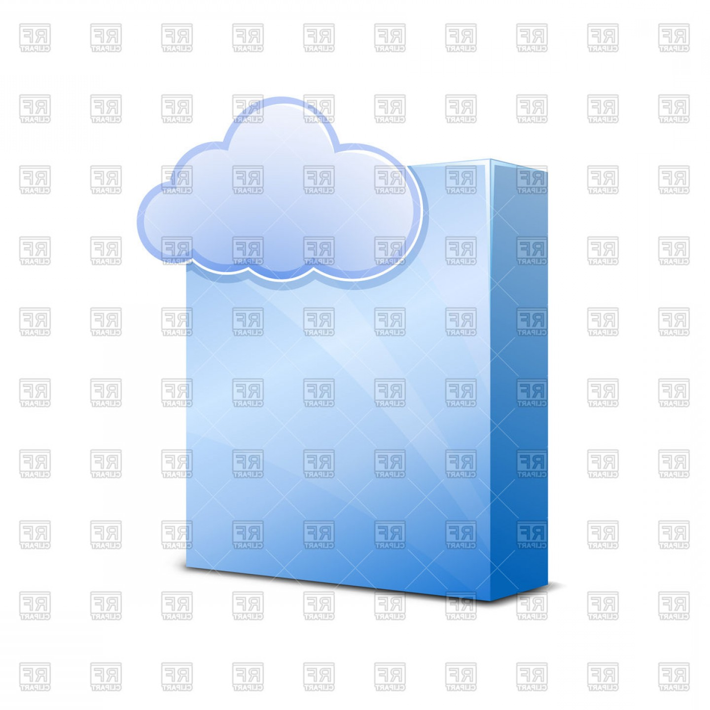 Free Vector File Software: Blue Glossy Software Package Box With Cloud Symbo Vector Clipart