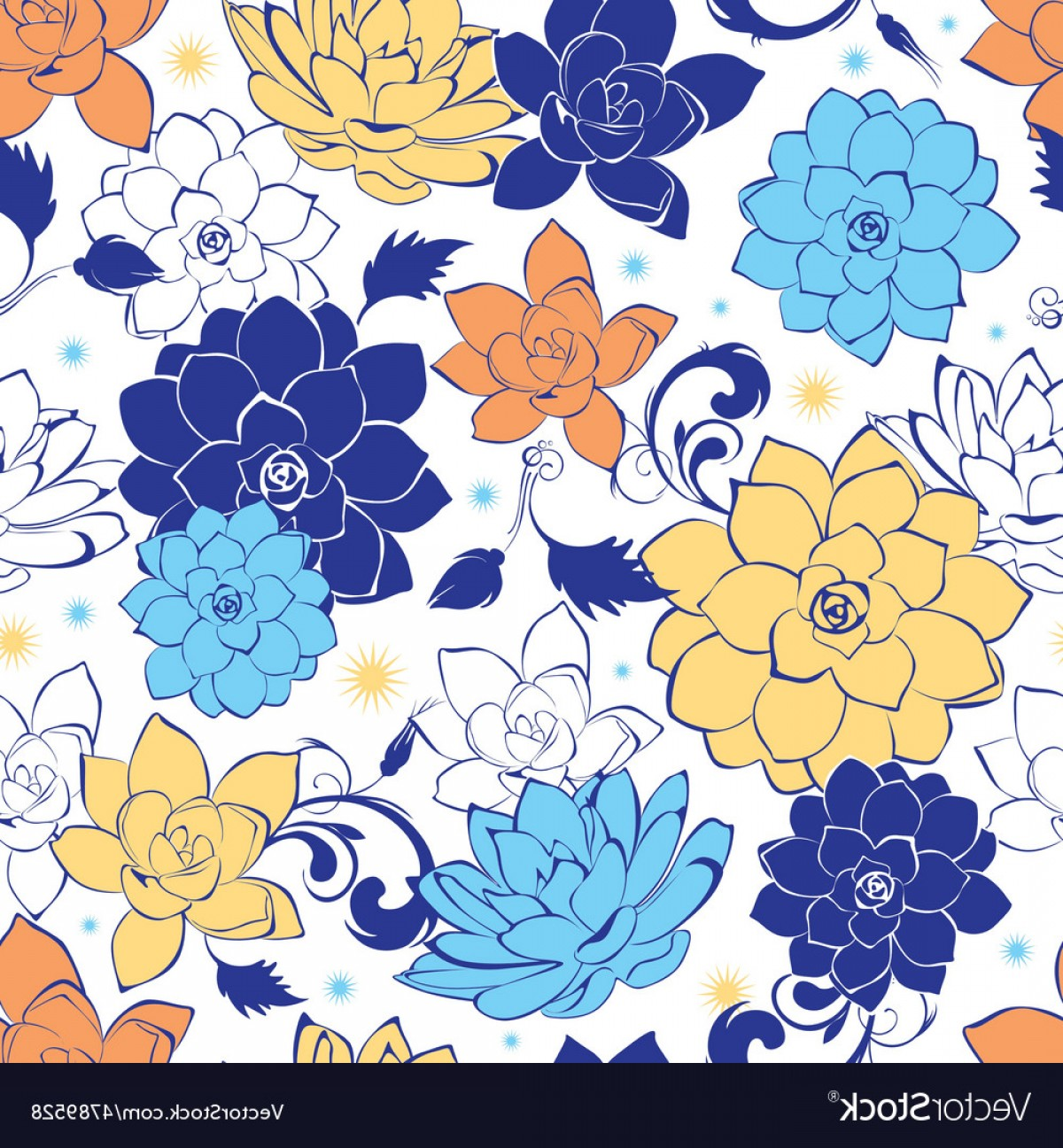 Gold And Blue Flower Vector: Blue Gold Flowers Seamless Pattern Vector