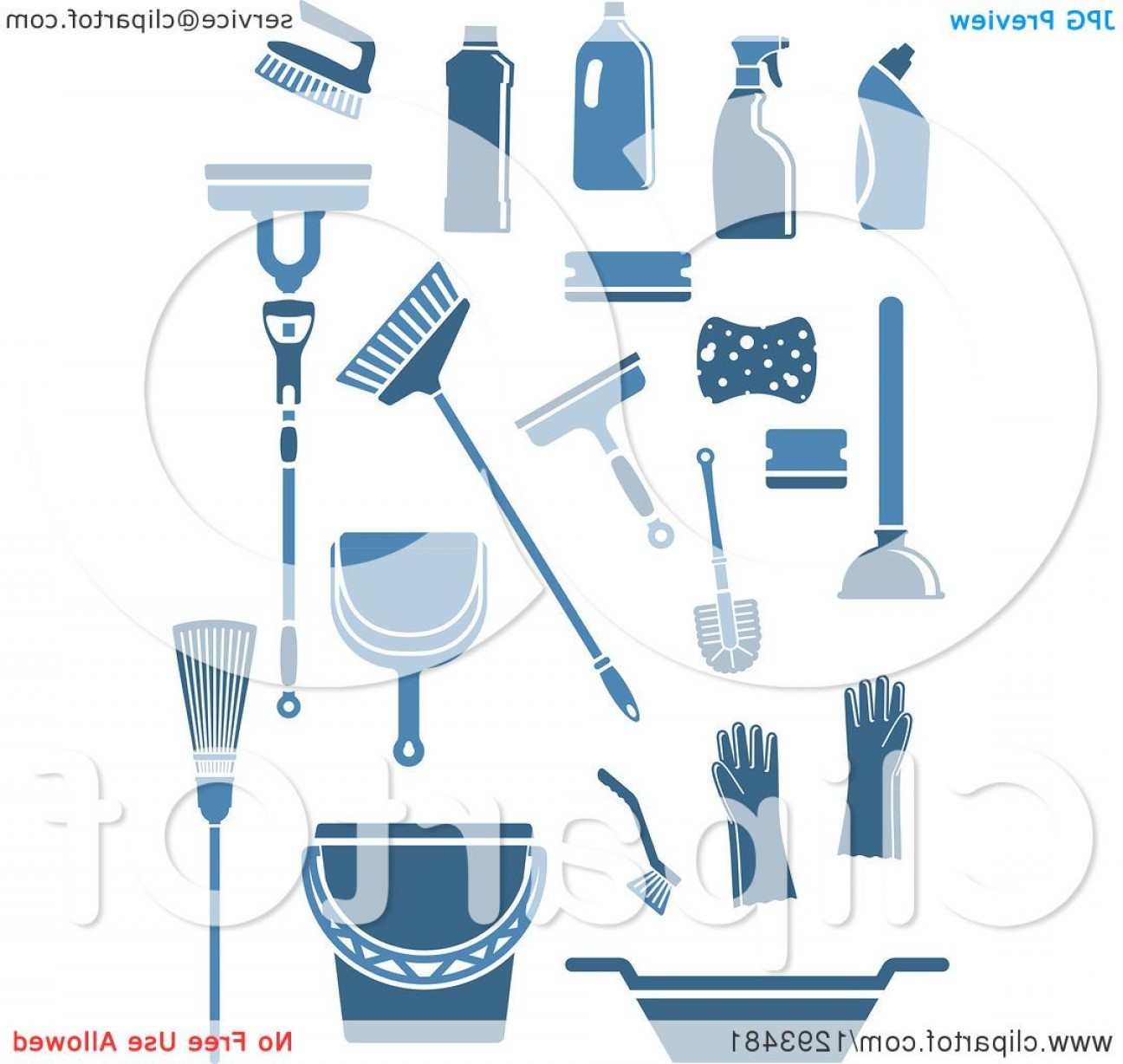 Janitorial Vector: Blue Janitorial And Cleaning Items