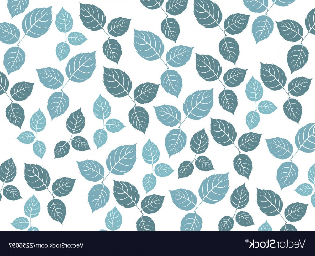 Blue With White Background Vector: Blue Leaf Pattern On A White Background Vector