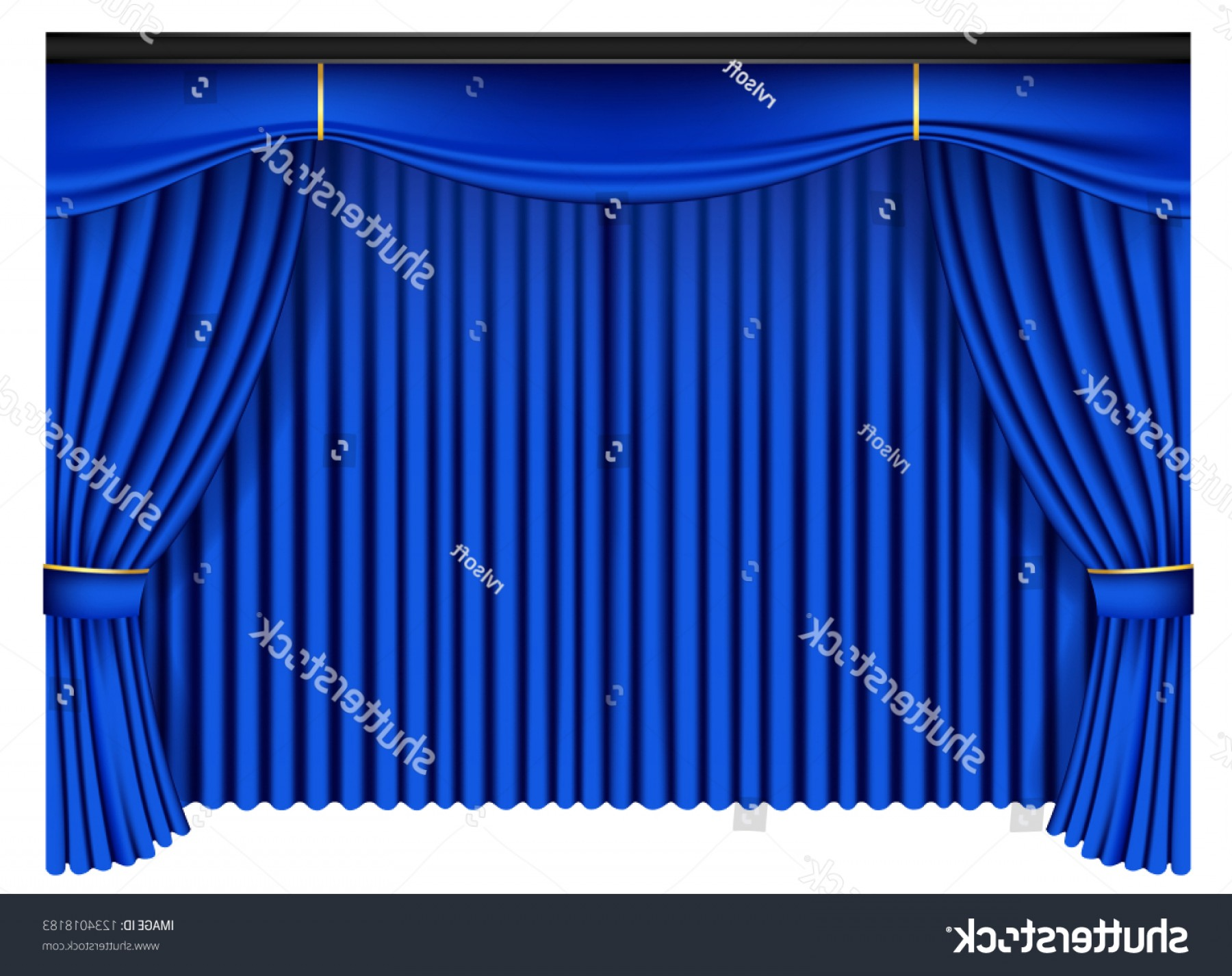 Vector Blue Luxury: Blue Luxury Curtains Draperies On White