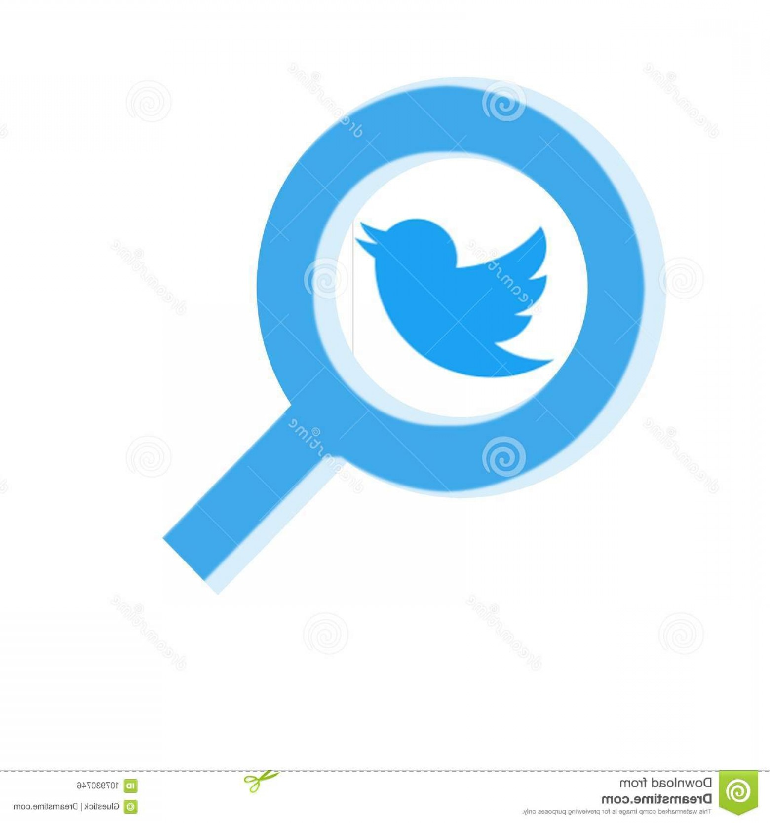 MeeGo Logo Vector: Blue Magnifying Glass Over Twitter Logo Illustration Vector Your Creative Needs Ideas Image