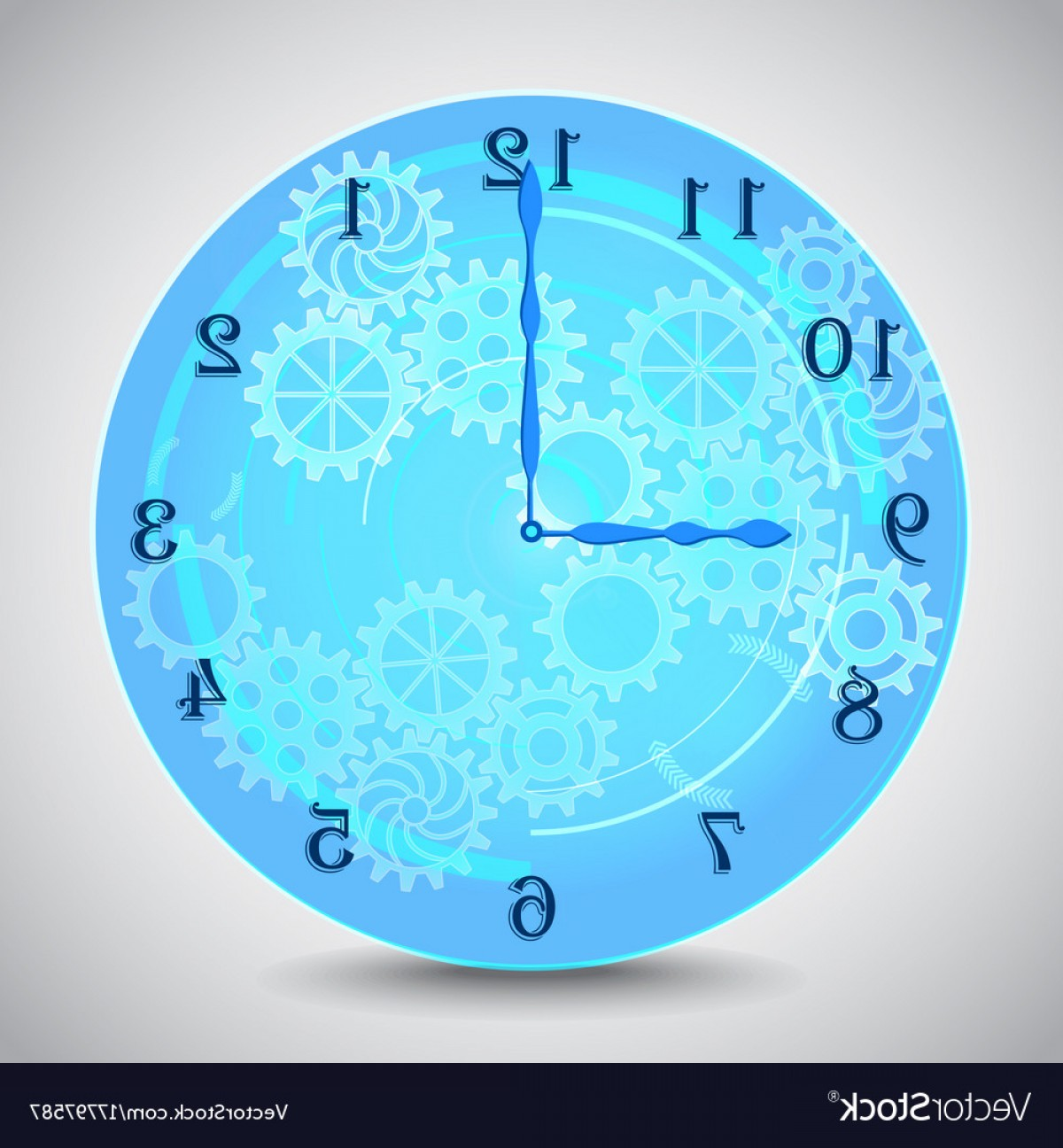 Vector Mechanical Clock Wheels: Blue Mechanical Clock With Gears On Grey Vector