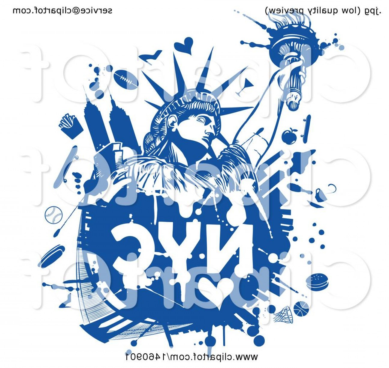 Statue Of Liberty Face Vector: Blue Nyc Statue Of Liberty Design
