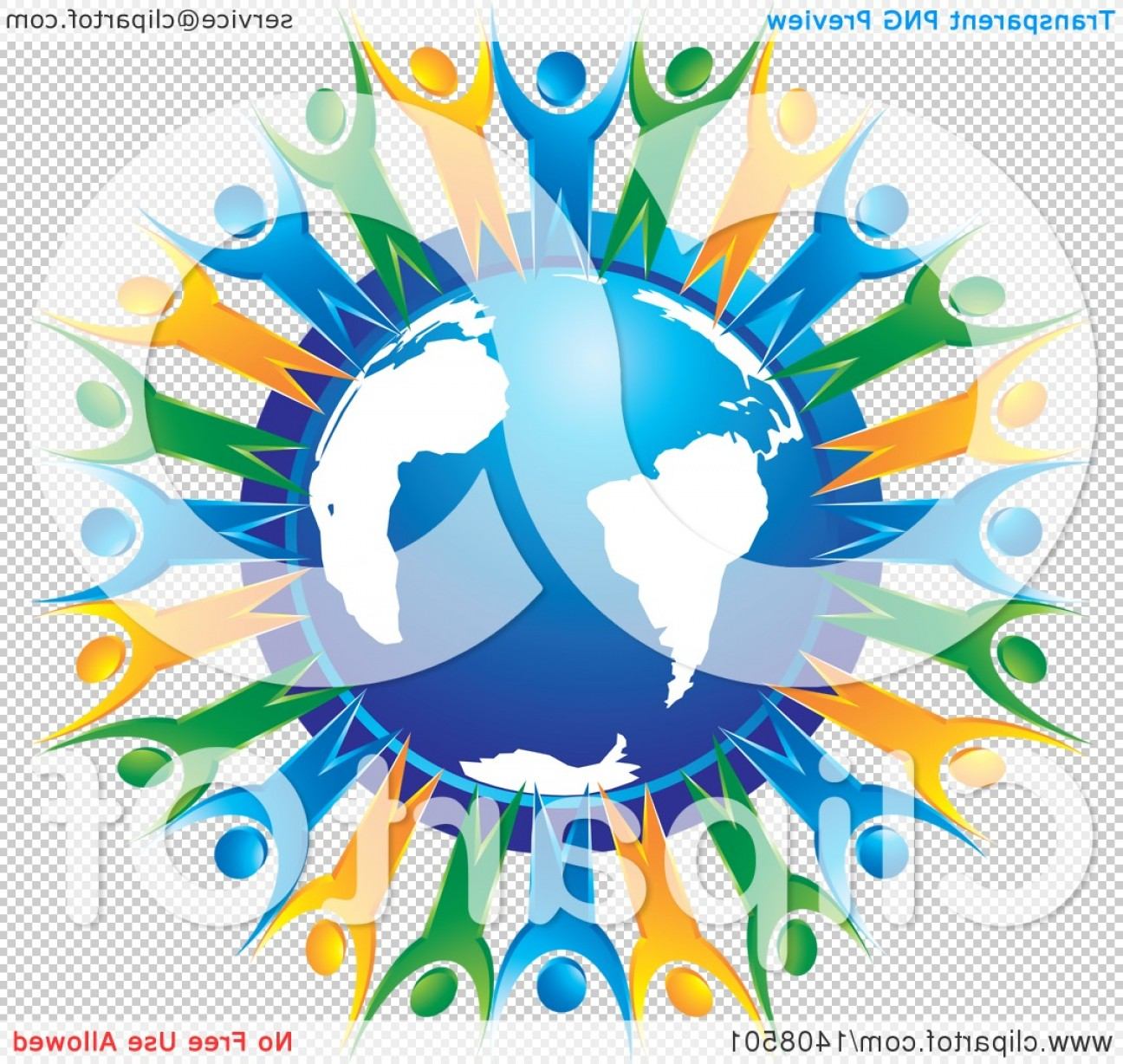 Globe Vector Clip Art Transparent Orange: Blue Orange And Green People Holding Hands And Cheering Around A Blue Globe