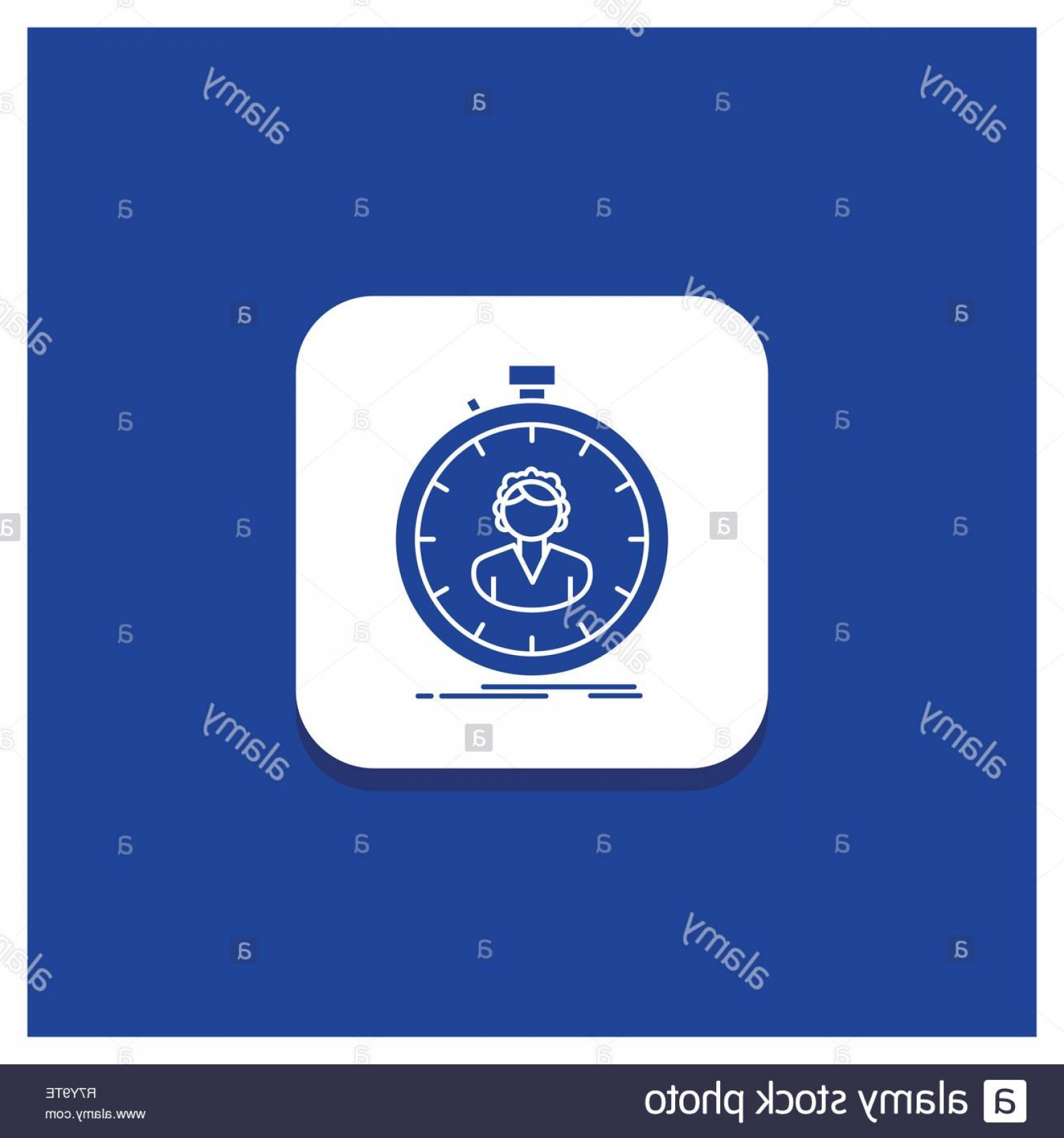 Stop Watch Vector Ai File: Blue Round Button For Fast Speed Stopwatch Timer Girl Glyph Icon Image