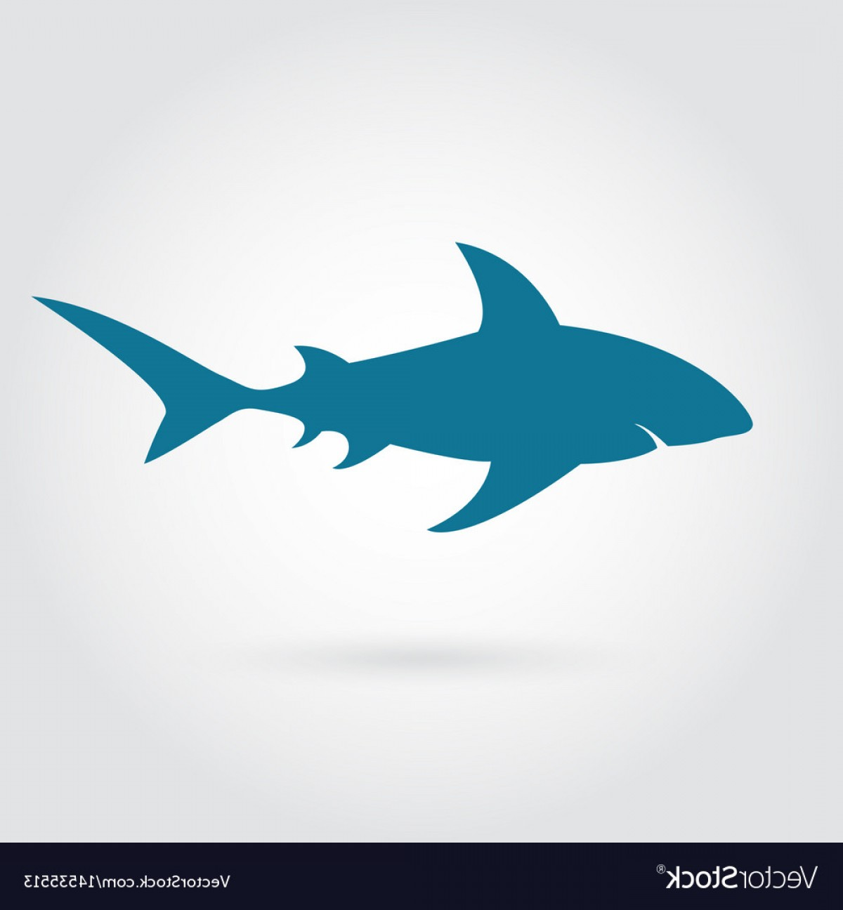 Vector Systems Fins: Blue Shark Silhouette With Sharp Fins Vector